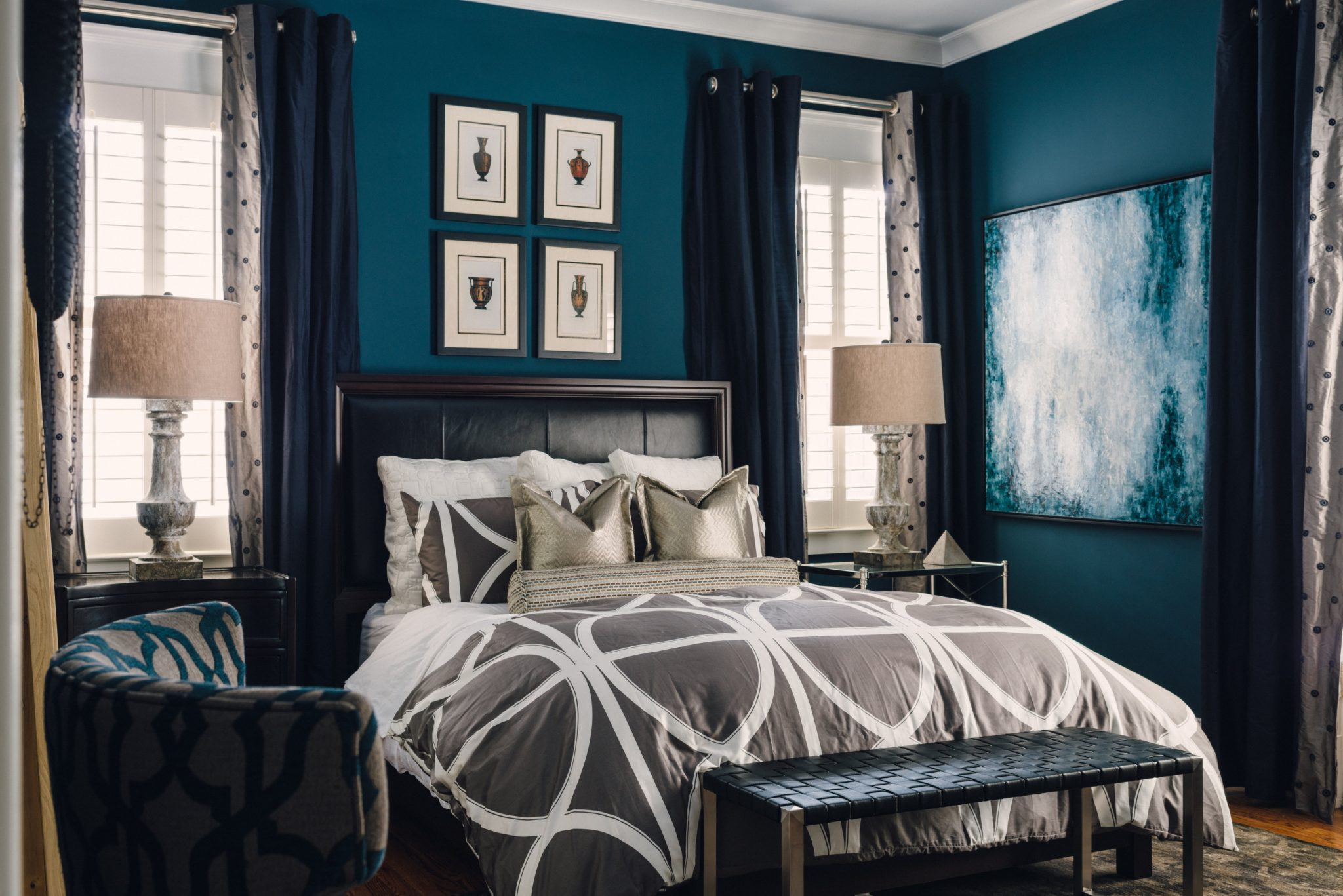 Blue hues in a bedroom by J. Wheeler Designs