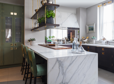 30 Beautiful Kitchens with Waterfall Islands