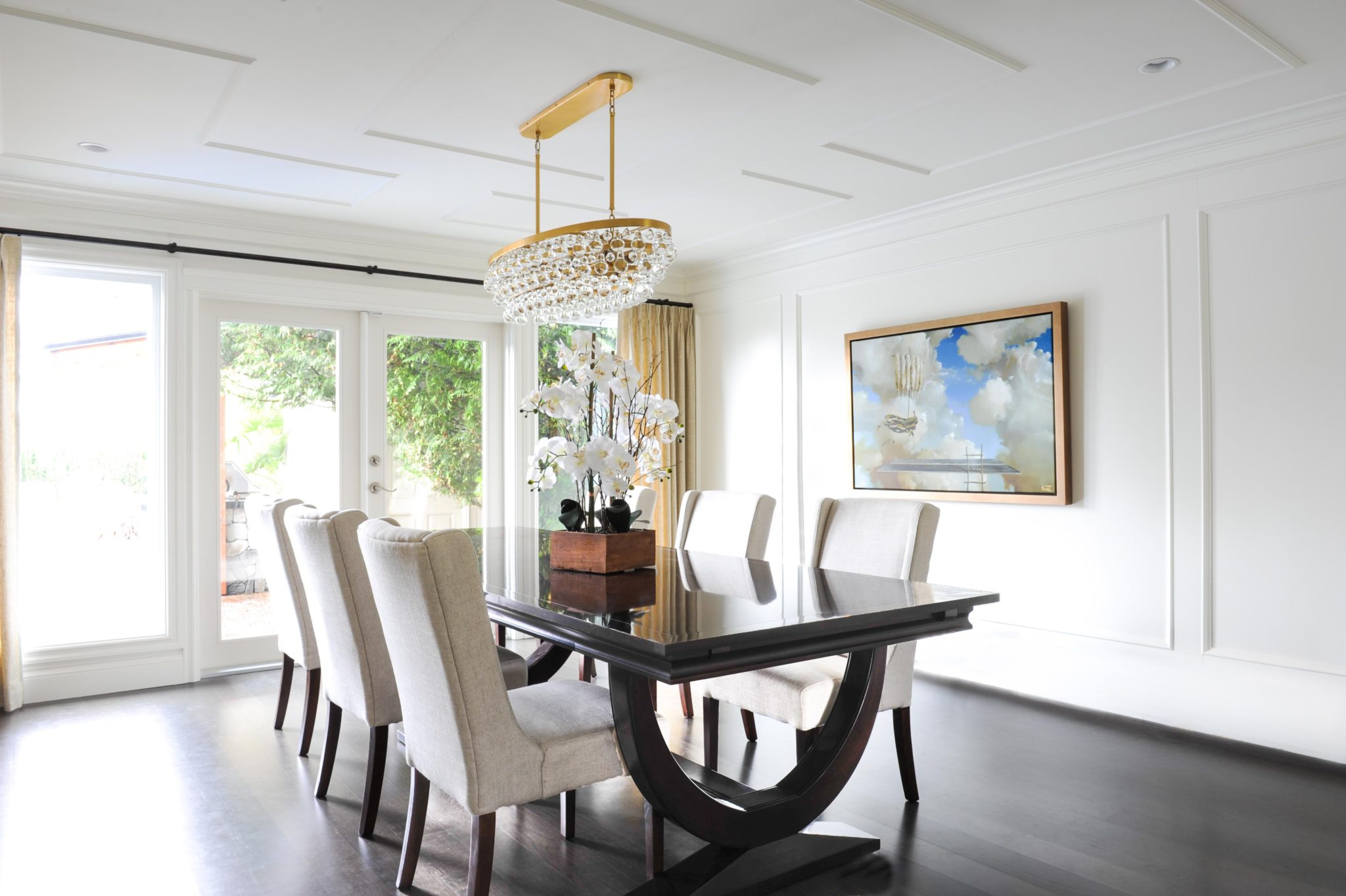 Refined dining room with luxe finishes by Enviable Designs