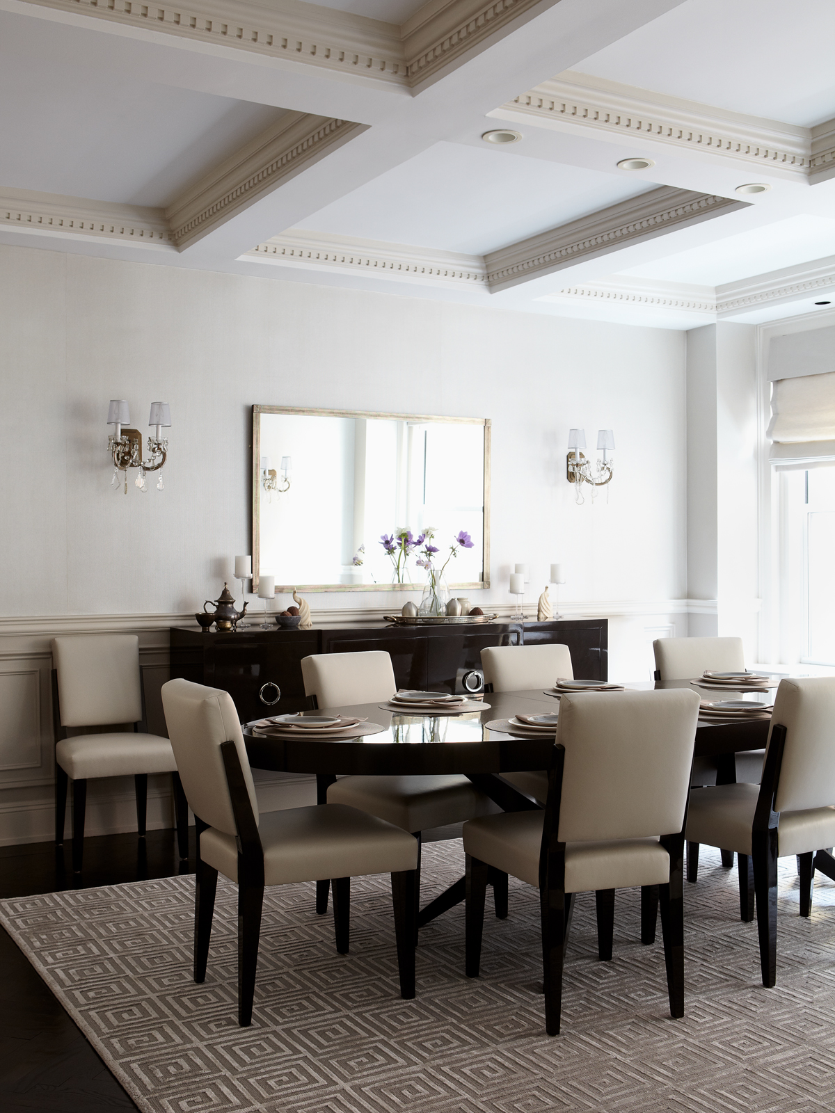 Luxurious and modern dining room with coffered ceiling and lacquered details by Allison Garcy Interiors