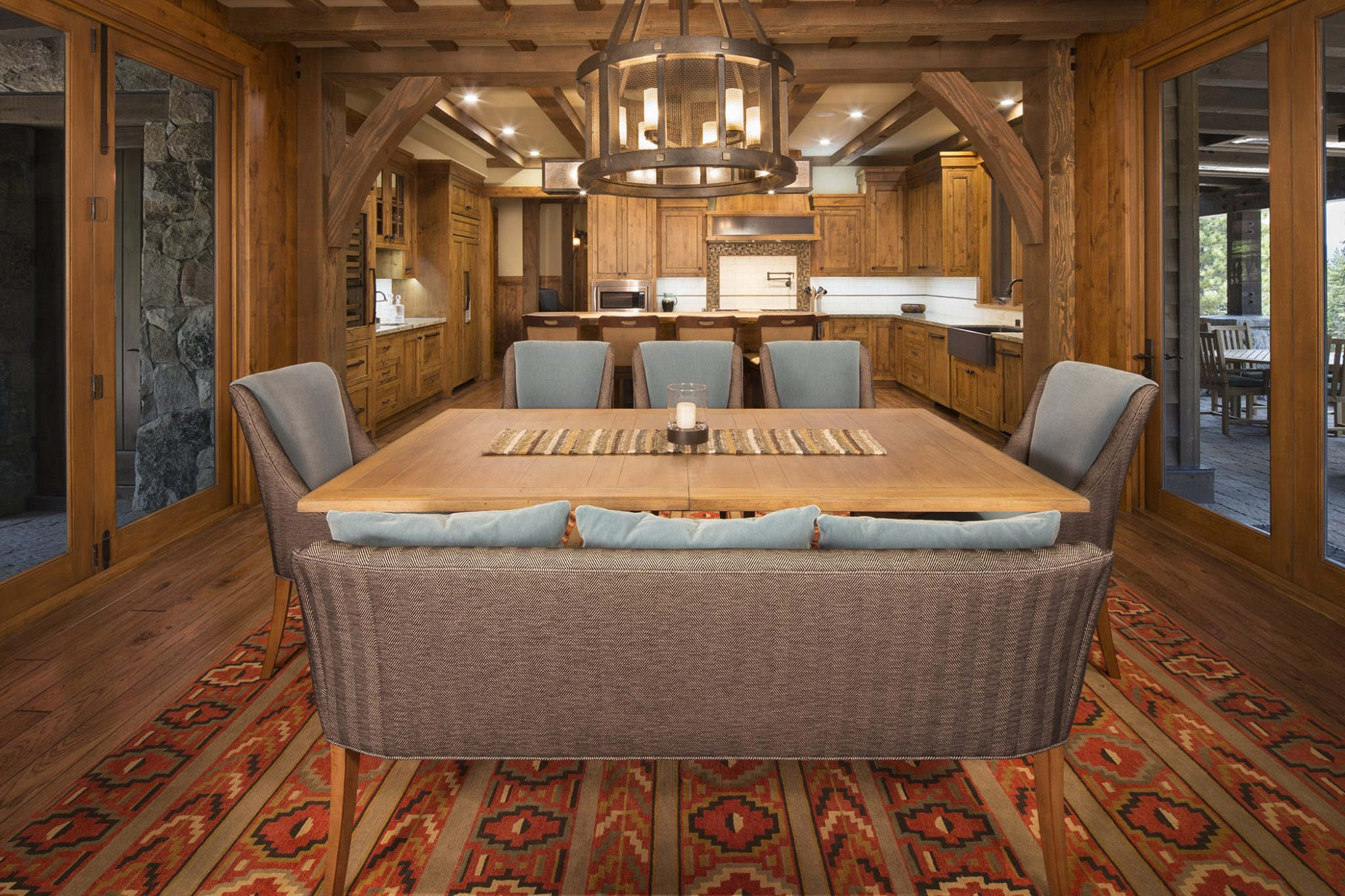 Mountain Comfort in Martis Camp - dining room and kitchen by Aspen Leaf Interiors, Inc.