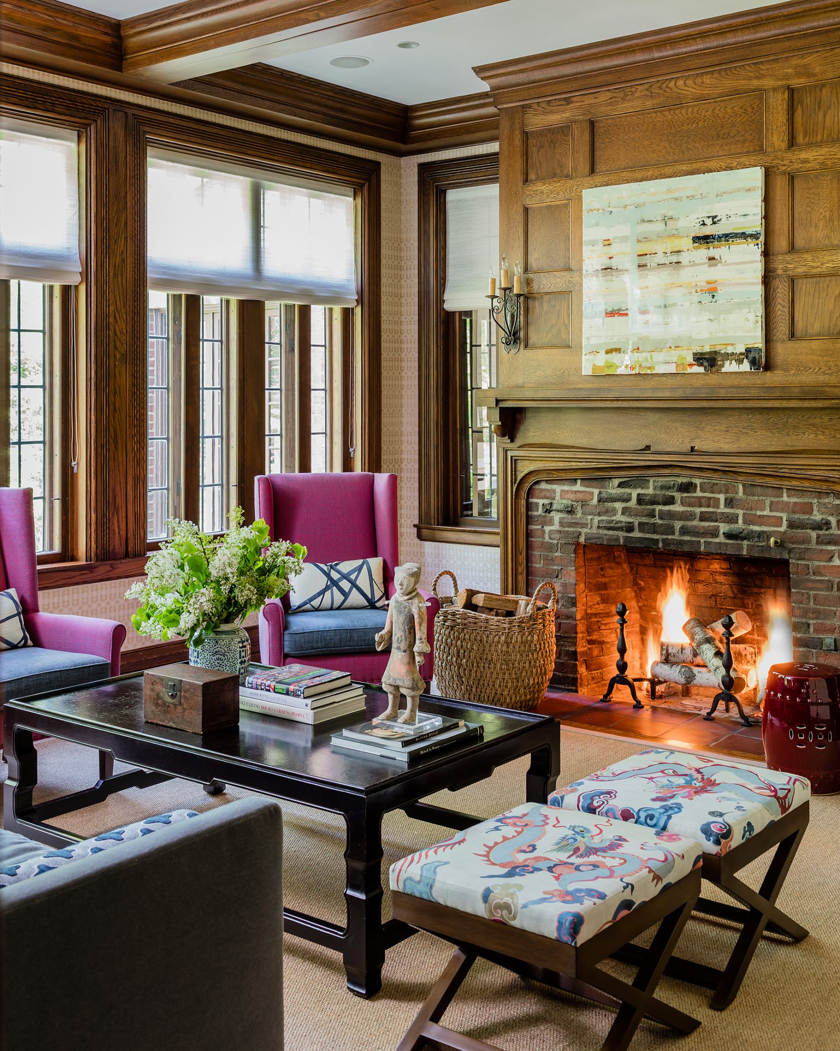 English Tudor, Library by Tiffany Leblanc of LeBlanc Design, LLC