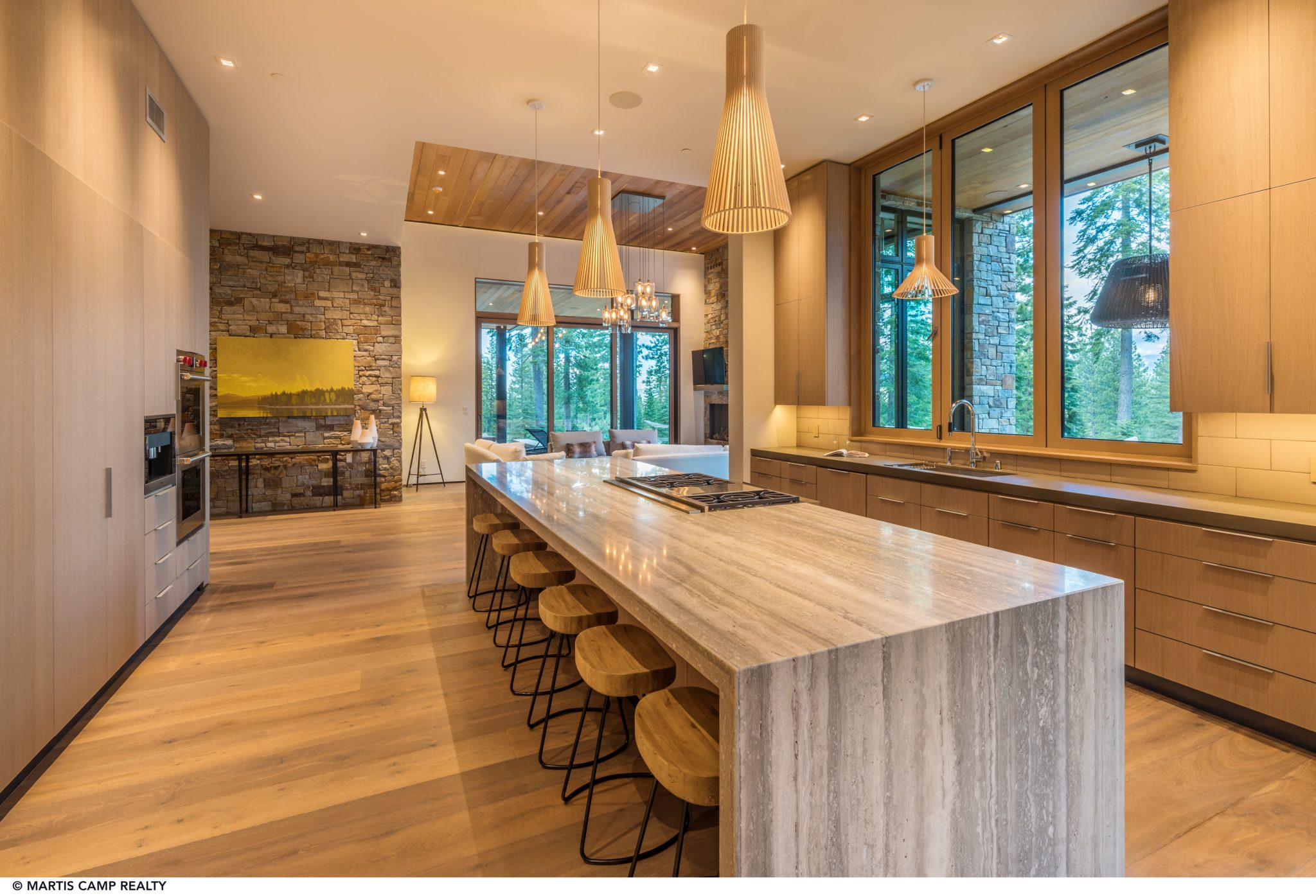 Martis Camp Modern Home, Open Kitchen, Waterfall Island, Flush Cabinetry by Dennis E. Zirbel, Architect