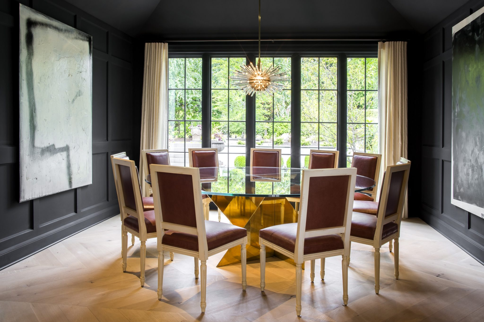 Seattle. Dining Room with Louis XVI style dining chairs from Artistic Frame. by Nate Berkus Associates