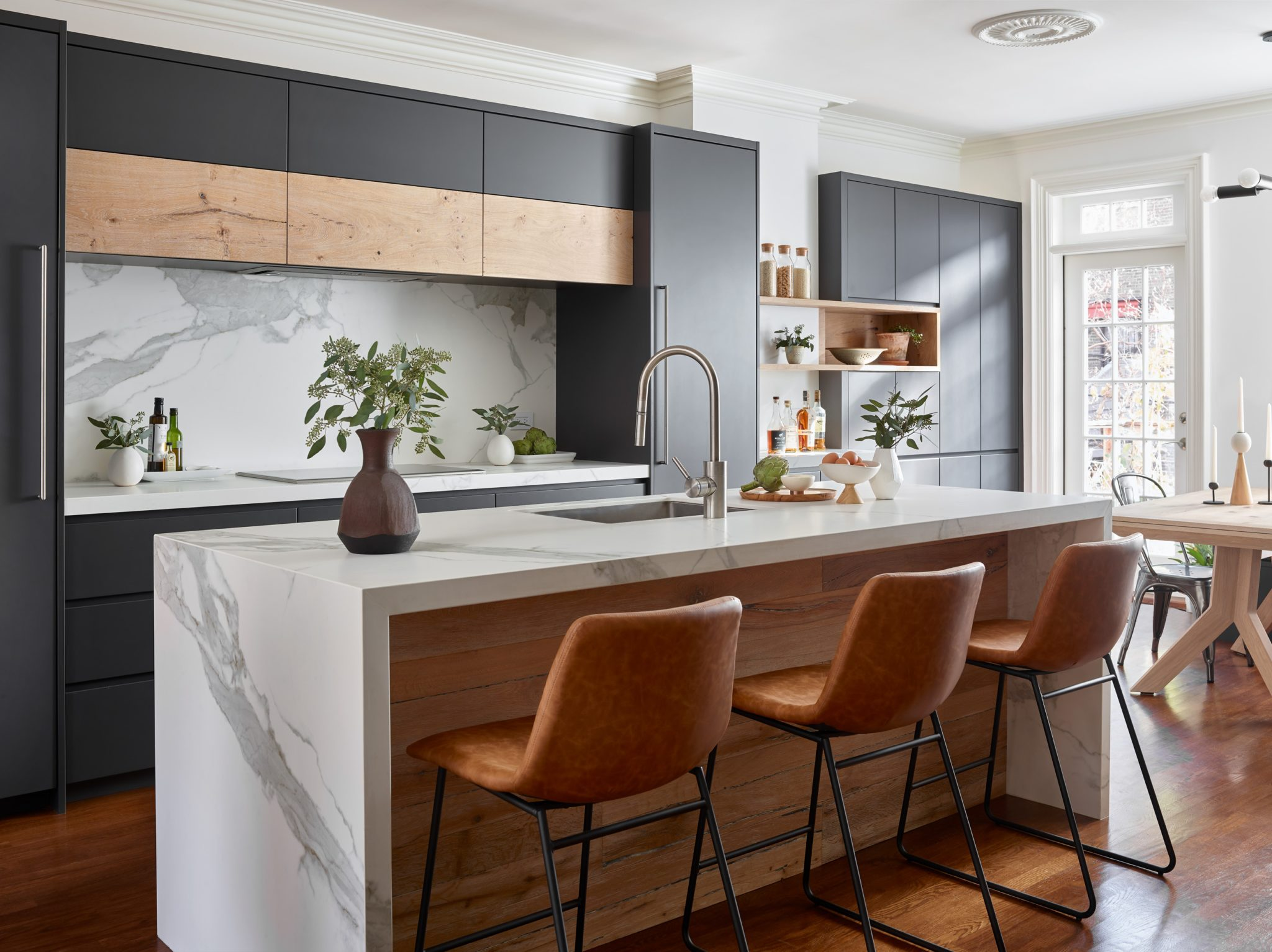 Stunning South End Kitchen, modern warmth by New England Design Works