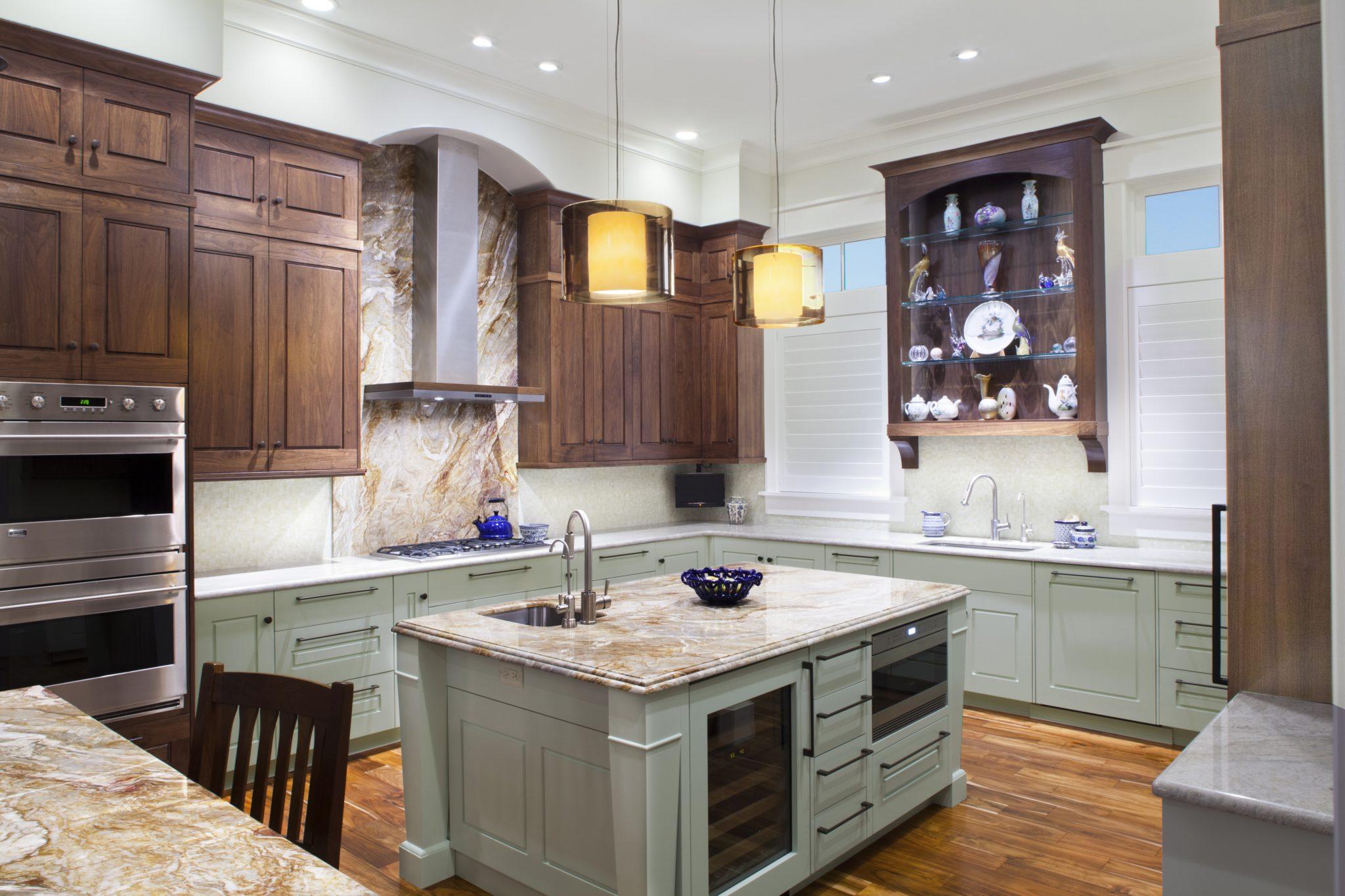 Coastal transitional kitchen by Amanda Webster Design, Inc.
