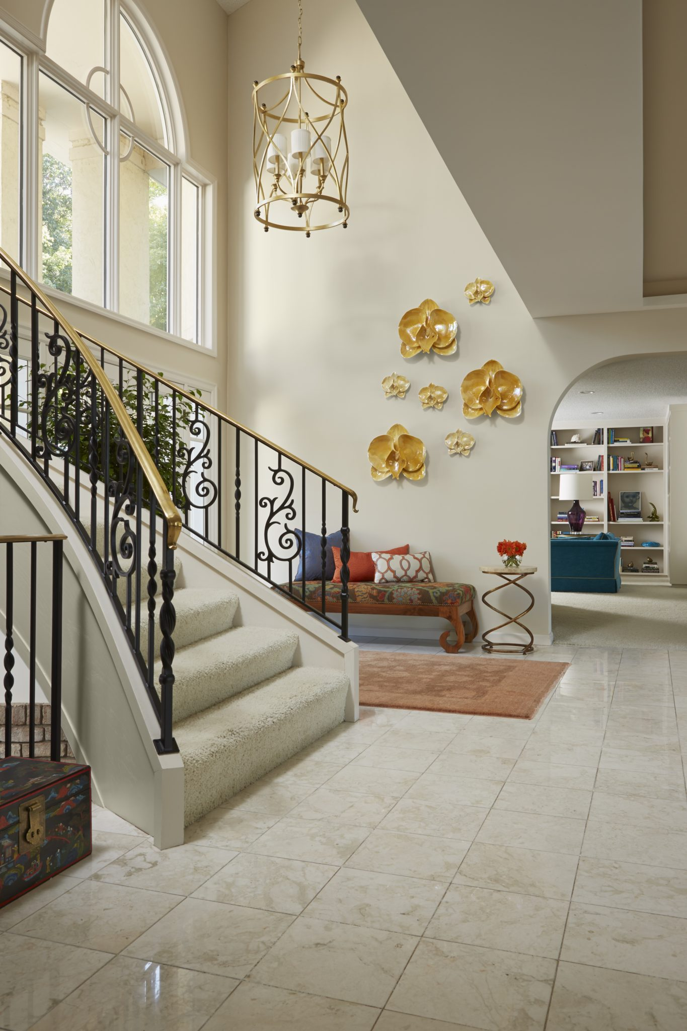 Marble Foyer with Central Stairway by Susan E. Brown Interior Design