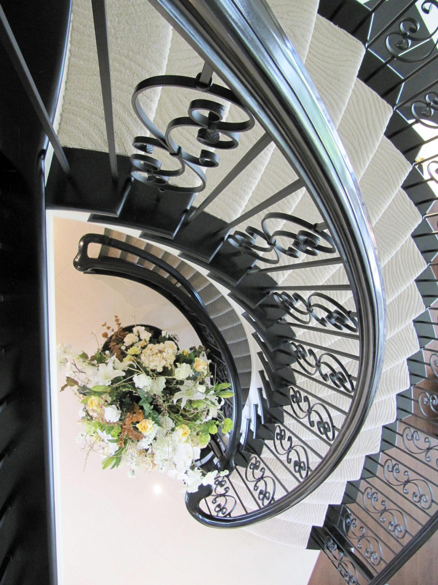 Cream on Cream Luxury Stairwell by Marie Hebson's interiorsBYDESIGNinc.