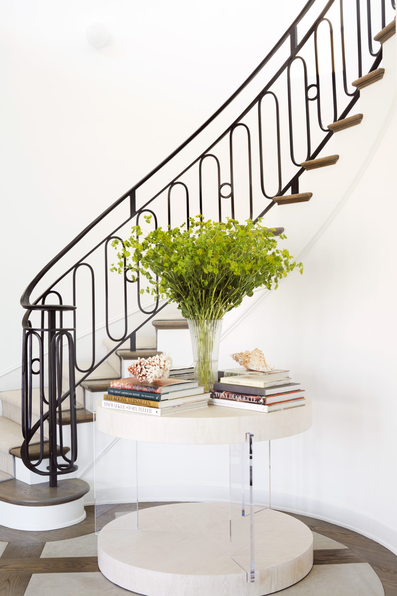 Manhattan Beach Project - Foyer with Custom Stair Railing by Erin King Interiors