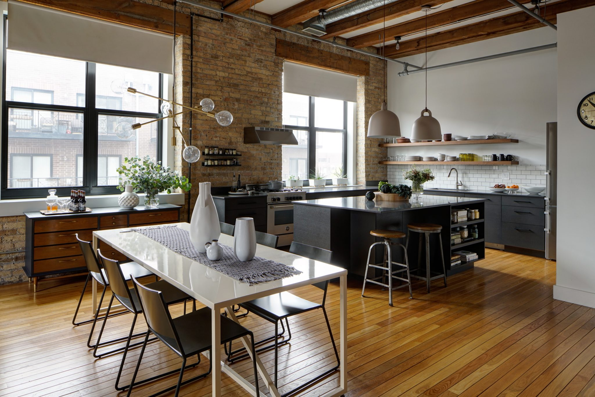 Chicago renovated loft, open concept kitchen and dining room area, gray & white by Maren Baker Design