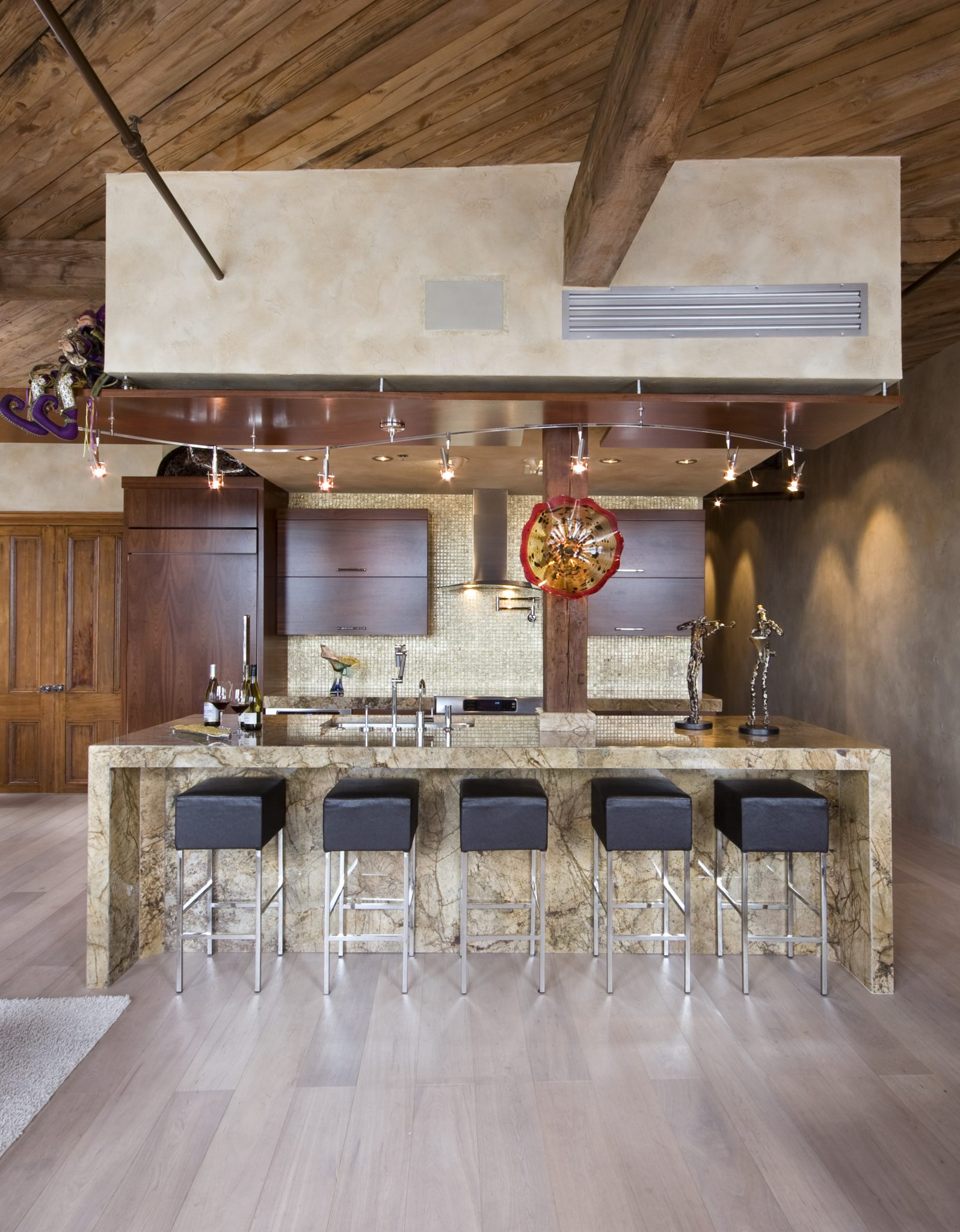New Orleans Penthouse, Kitchen Exposed Brick and Wood Beams by Posh Exclusive Interiors