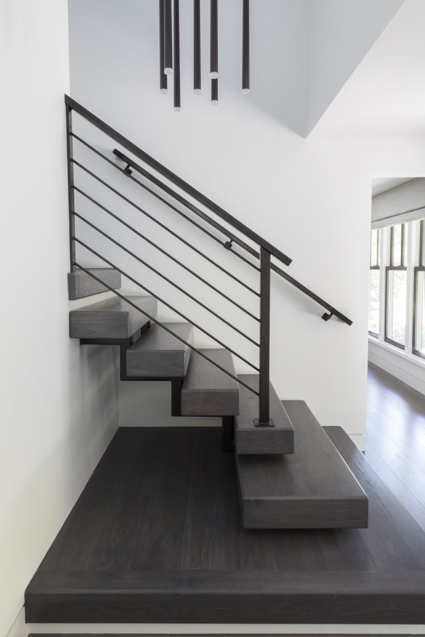 Floating Staircase w/ Clean Line Railing - Allendale, NJ Residence by Jenny Madden Design