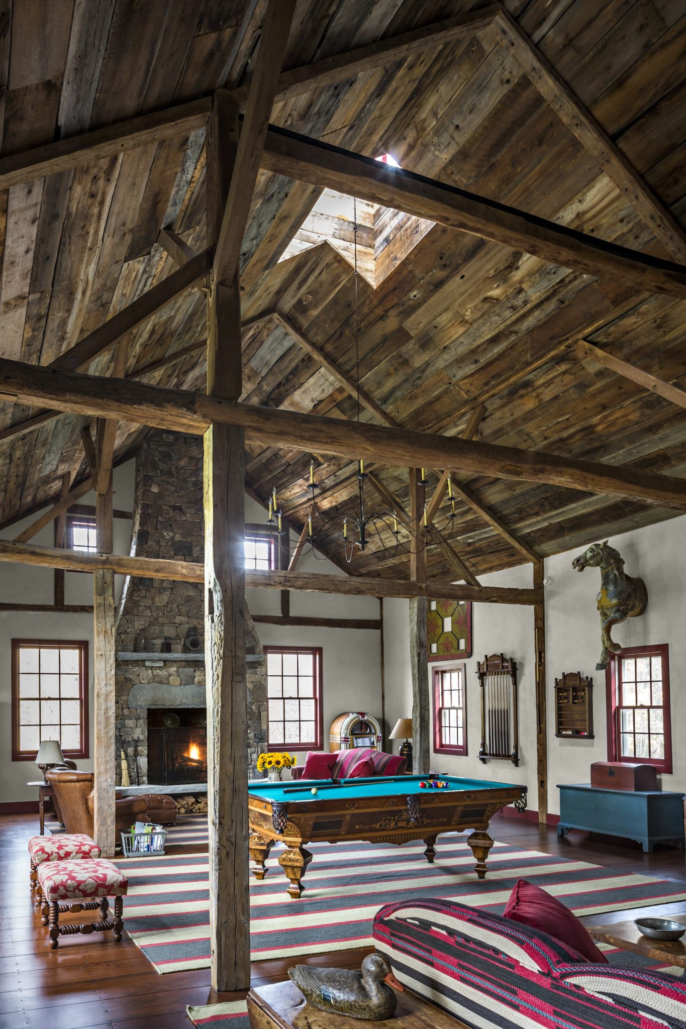 Billiard Room in Converted Antique Barn by Haver & Skolnick Architects