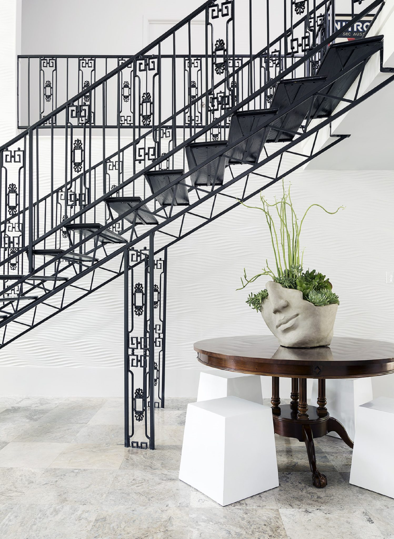 Mid Century Modern Staircase and Entry / Foyer in Black and White by Benjamin Johnston Design