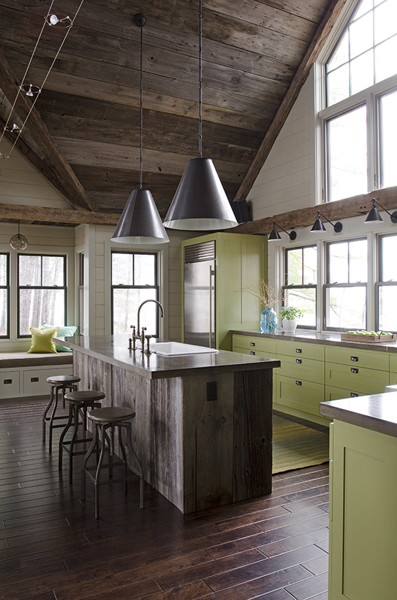 "Valspar's La Fonda Olive (#6006-6B)  ""We wanted to use natural materials in this lakefront home, but because they tend to blend away, we added excitement with a bold color that drew from the exterior setting. The green color we chose for this home relieves us from all the grey and barn wood and adds dimension and brightness, while still maintaining a connection with the natural surroundings.""  Kristina Crestin, of Kristina Crestin Design"
