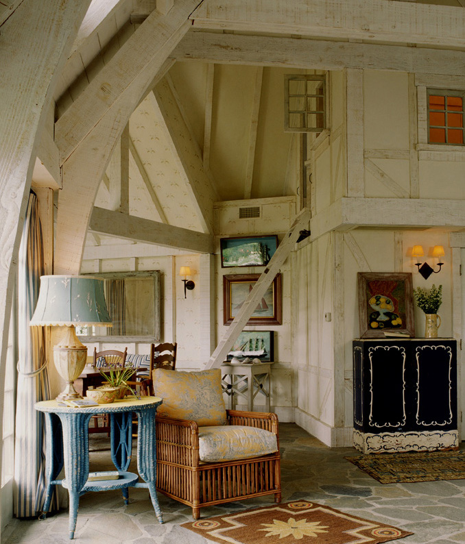 Corner of French Normandy Barn and Great Room designed by Thomas Callaway by Thomas Callaway Associates, Inc.