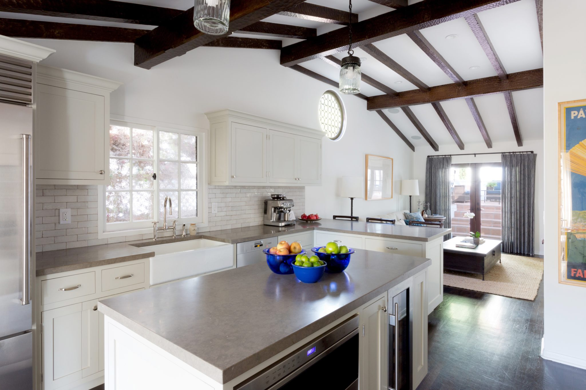 Kitchen with Isalnd and Beam Ceiling by Paul Brant Williger, Architect Inc.