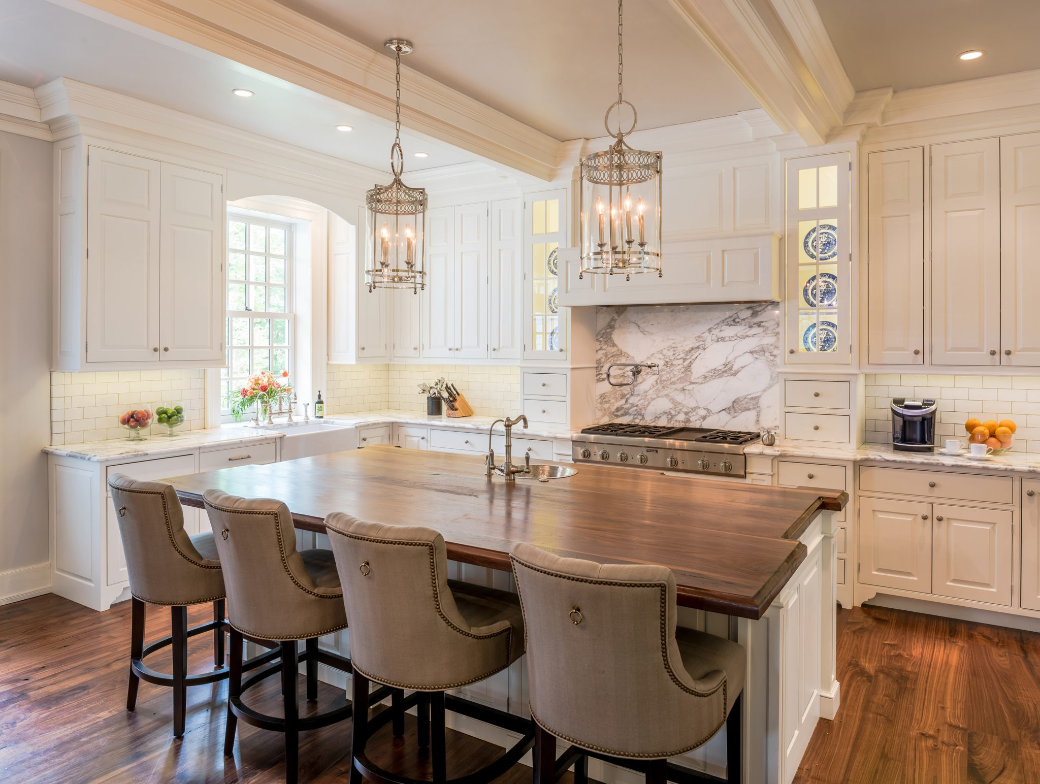Colonial revival farmhouse kitchen with traditional details in Horsham, PA, by Period Architecture