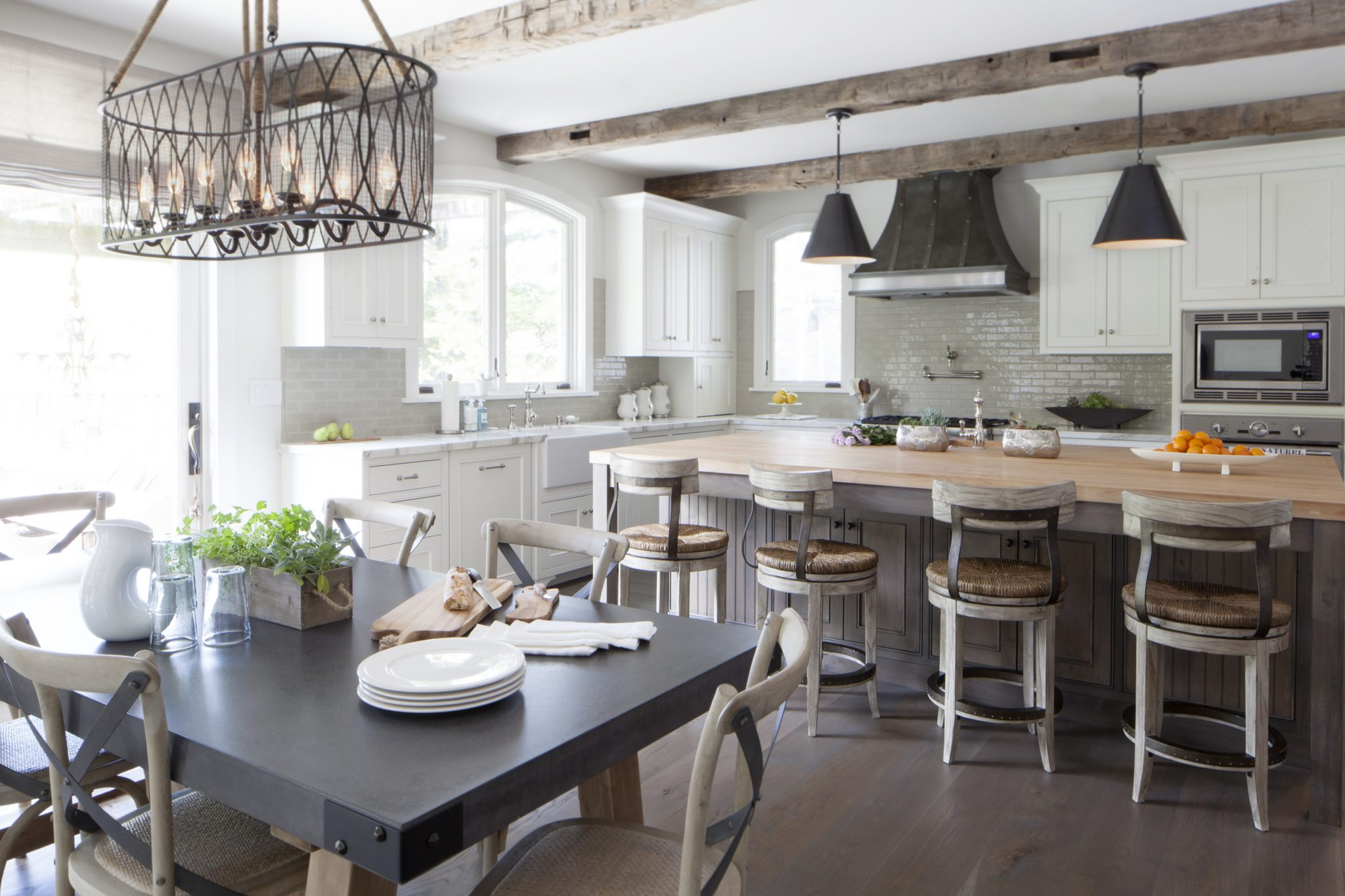 French rustic kitchen with warm grays, wood grain and natural textures by Fiorella Design, LLC