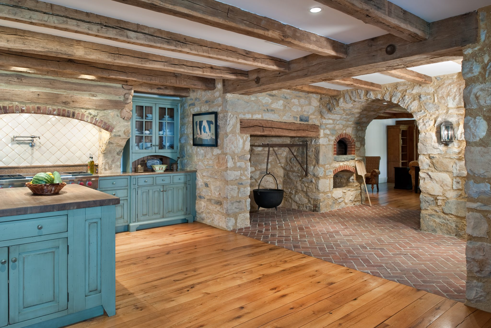 Rustic Farmhouse Kitchen with Walk-in Fireplace in Malvern, Pennsylvania, by Period Architecture