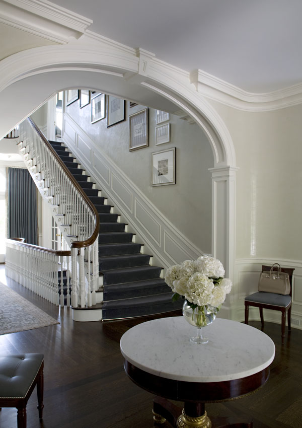 Formal entry with Venetian plaster walls by S.B. Long Interiors