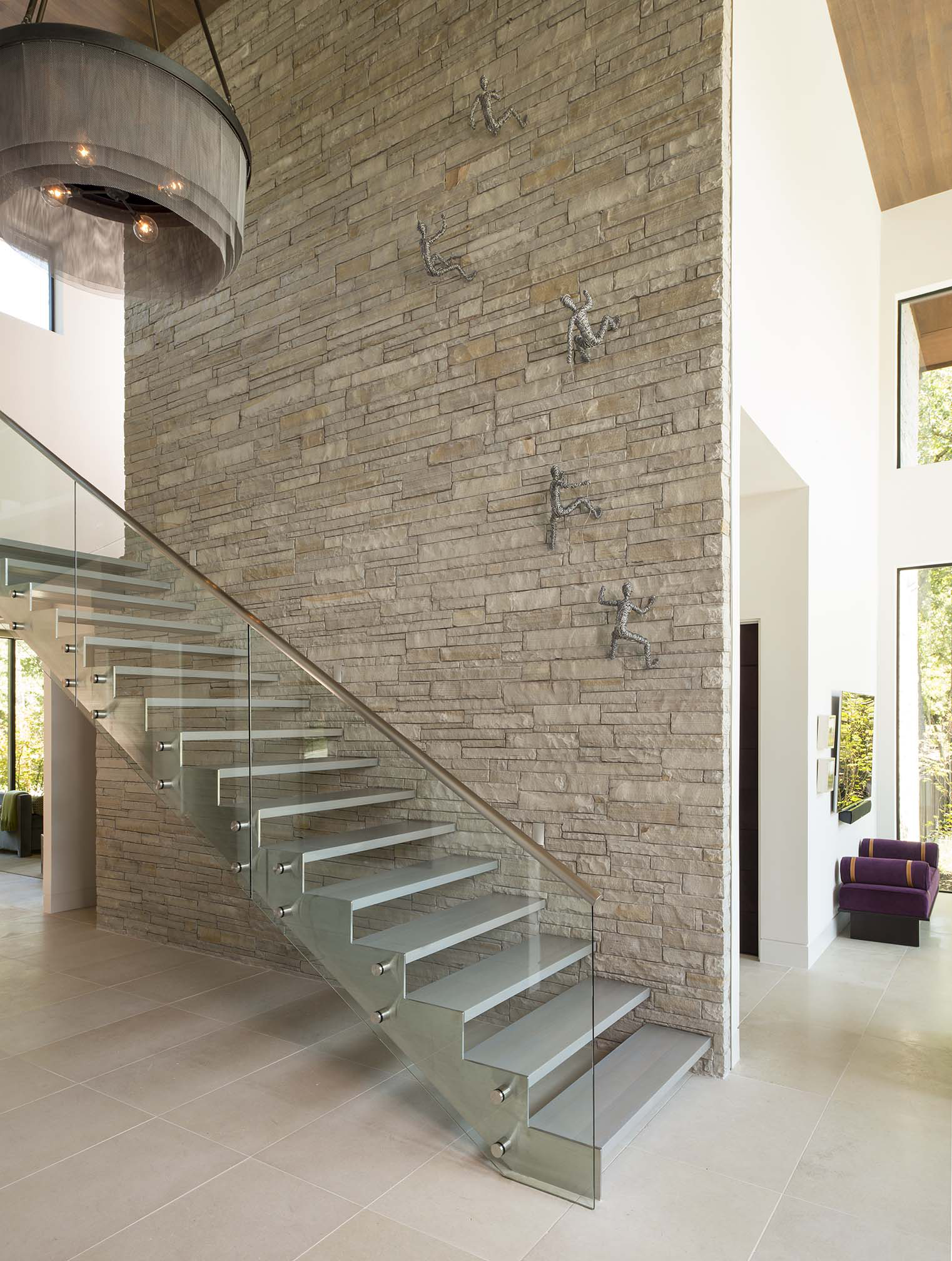 Contemporary Glass Staircase by Denise McGaha Interiors
