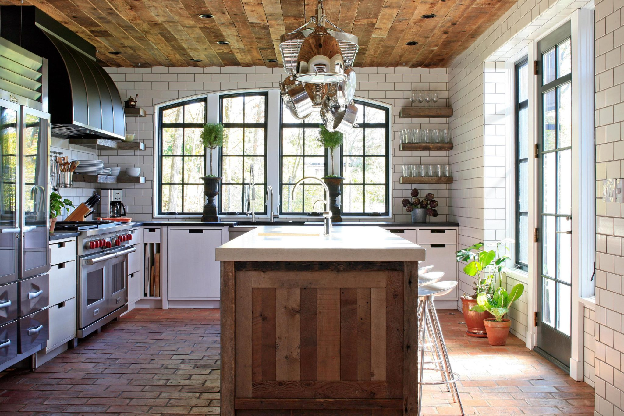 Modern European Cottage Reclaimed Wood Kitchen by bba ARCHITECTS