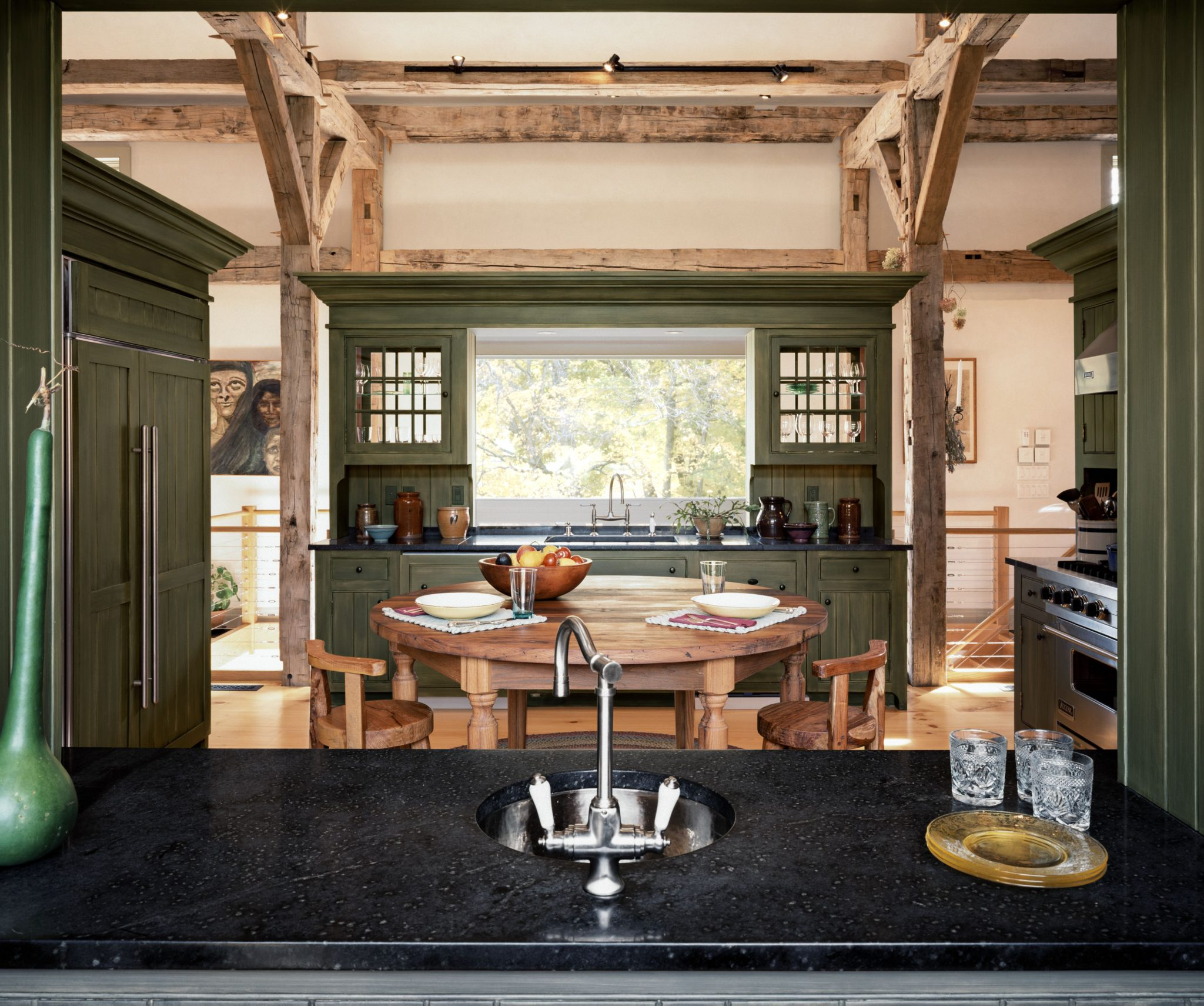 This country kitchen is defined by four pieces of free-standing millwork. By Haver & Skolnick Architects