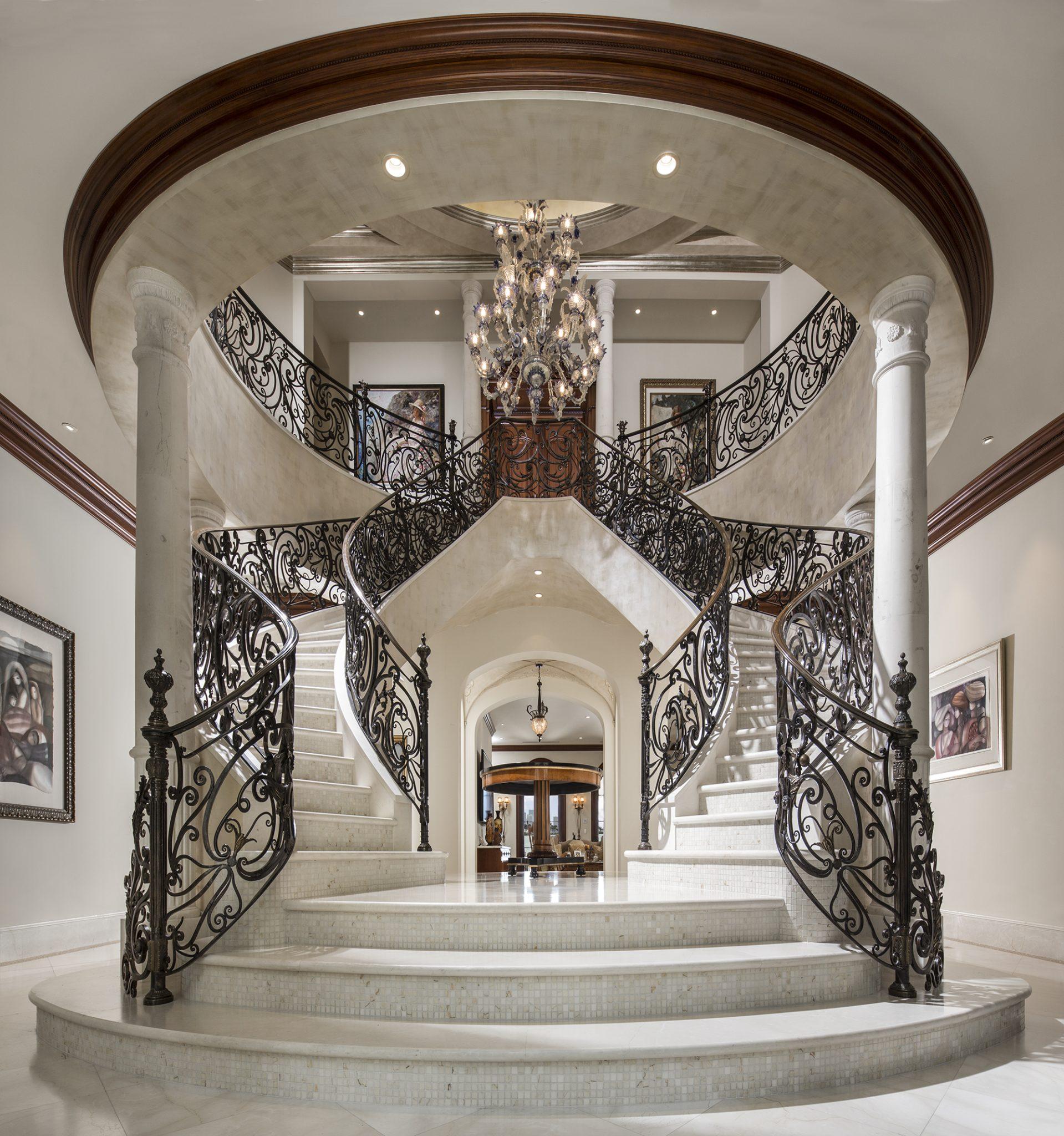 KING'S PALACE Star Island Miami Florida, Grand Stairway by Perla Lichi Design
