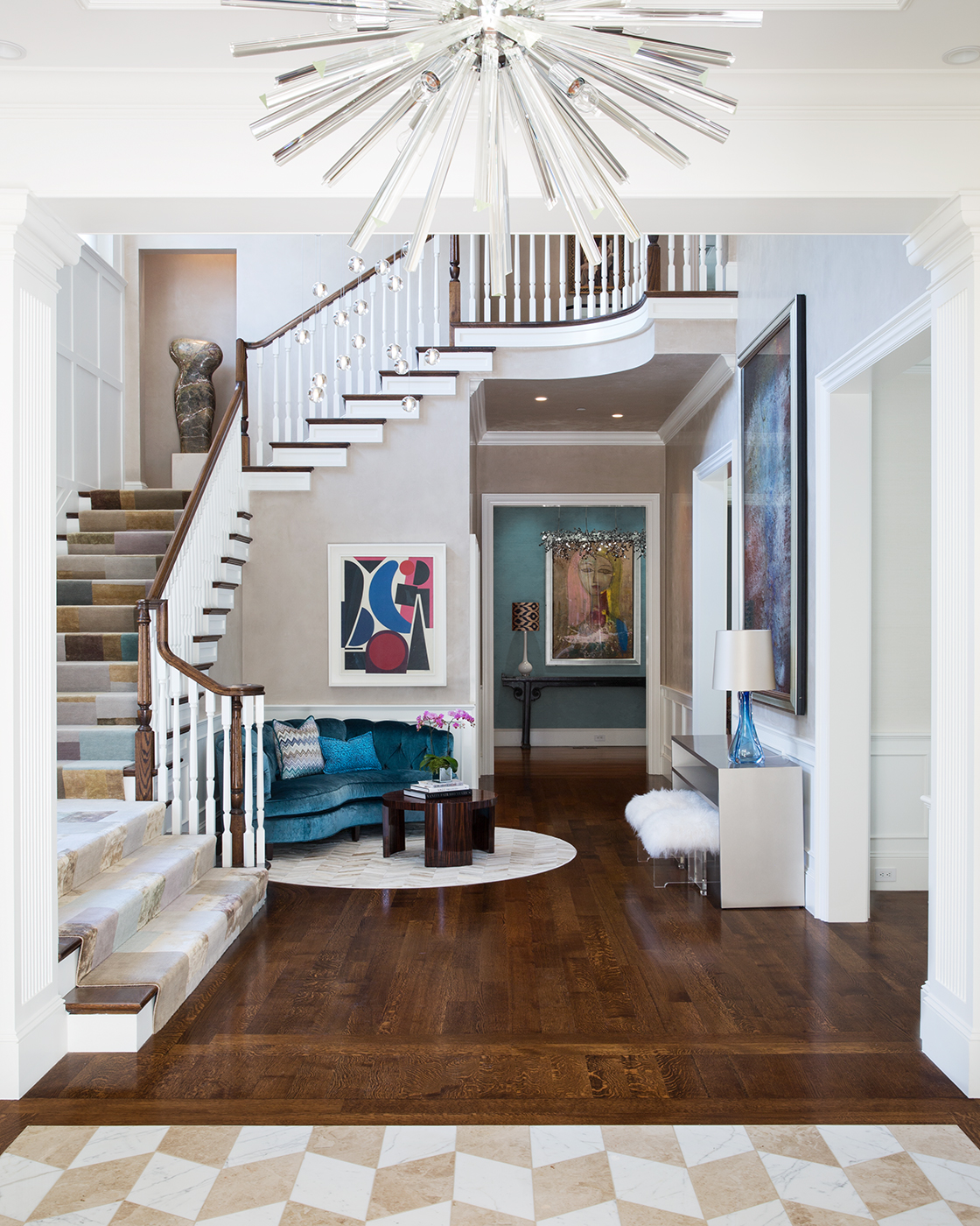 Atherton entry with stairway by Heather Wells Inc.