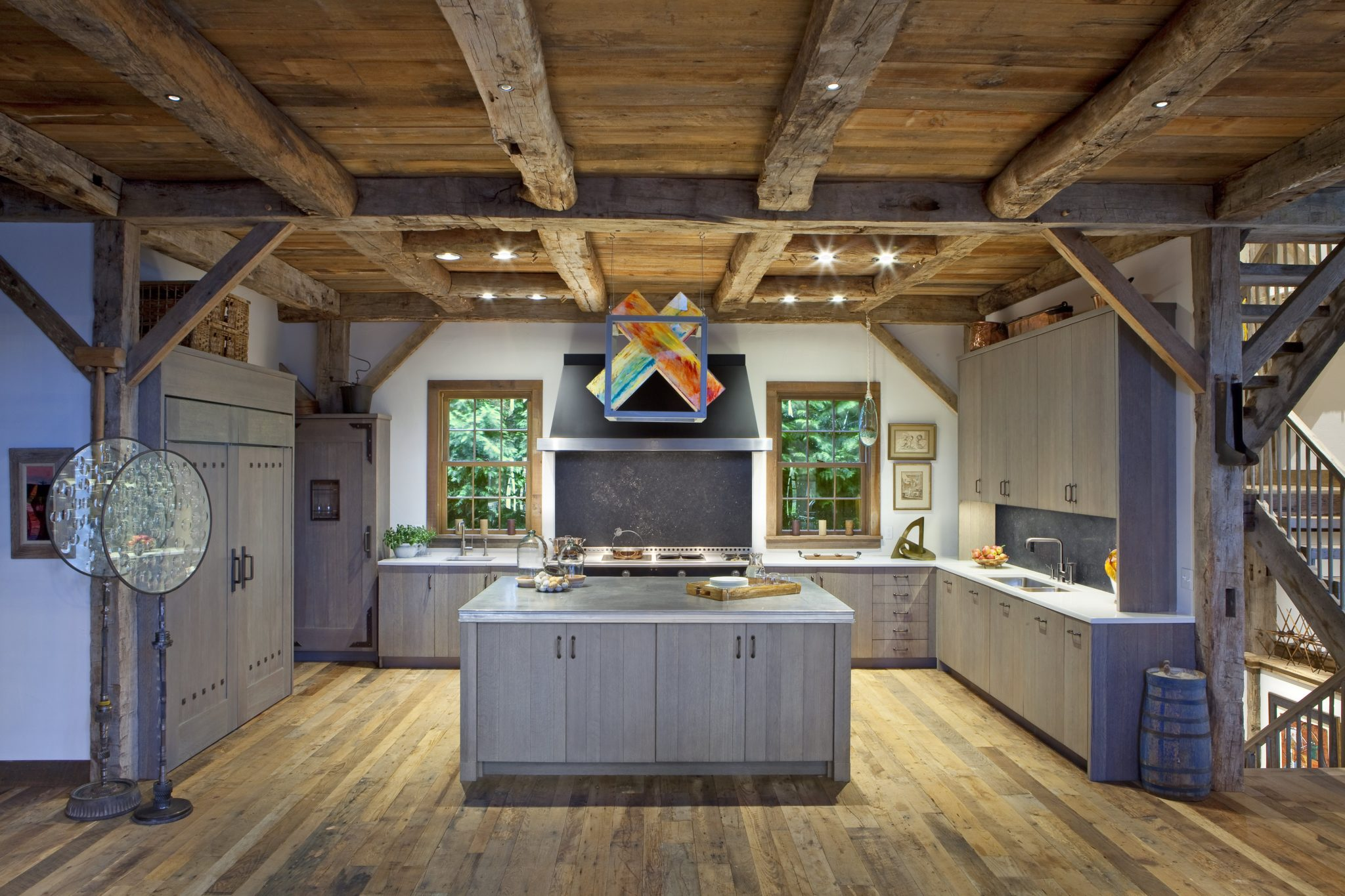Colorful Barn Kitchen by St. Charles of New York