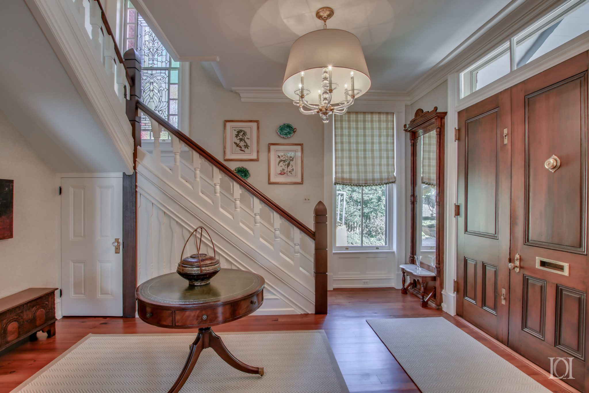 authentic doors stain glass window Gothic style banister pier mirror glass light by Deborah Leamann Interior Design