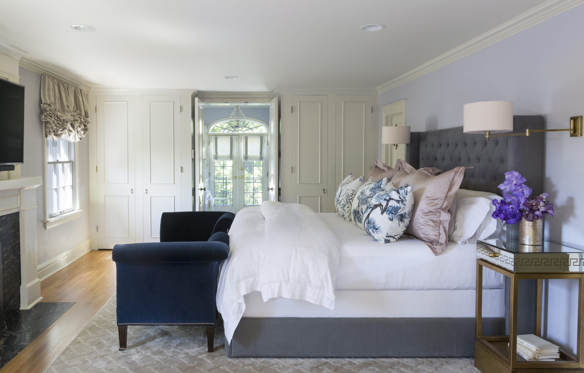 Traditional elegant master suite by Duet Design Group