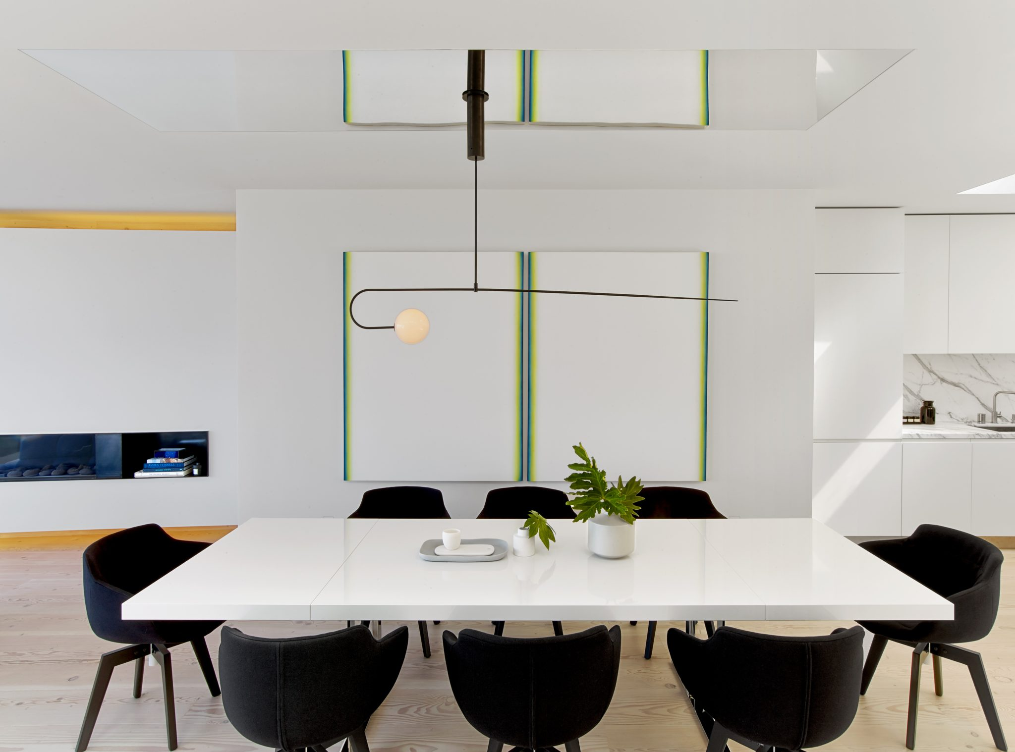 Glen Park Residence, Dining Area with polished stainless steel ceiling by Cass Calder Smith | CCS Architecture