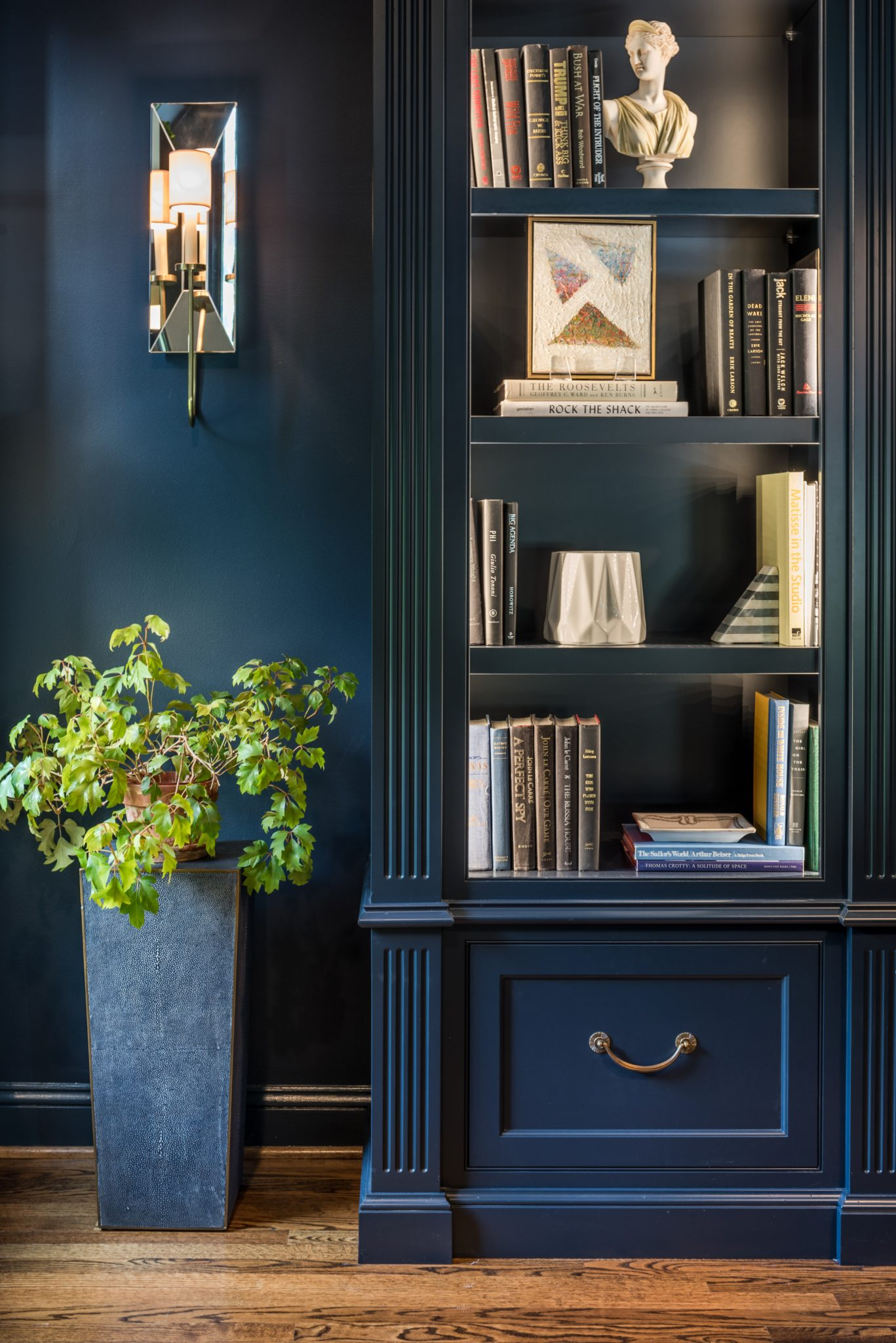 Navy Blue Library with Custom Built Bookcases by Walsh Hill Design
