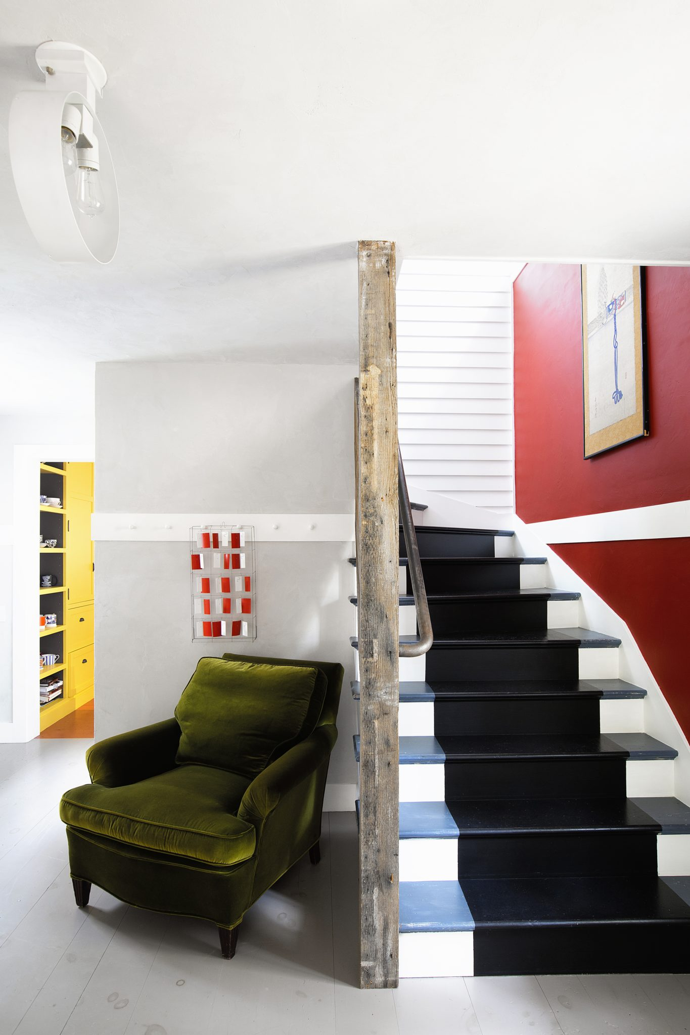 Connecticut Farmhouse, Stair hall in a Bright Palette by Douglas C. Wright Architects
