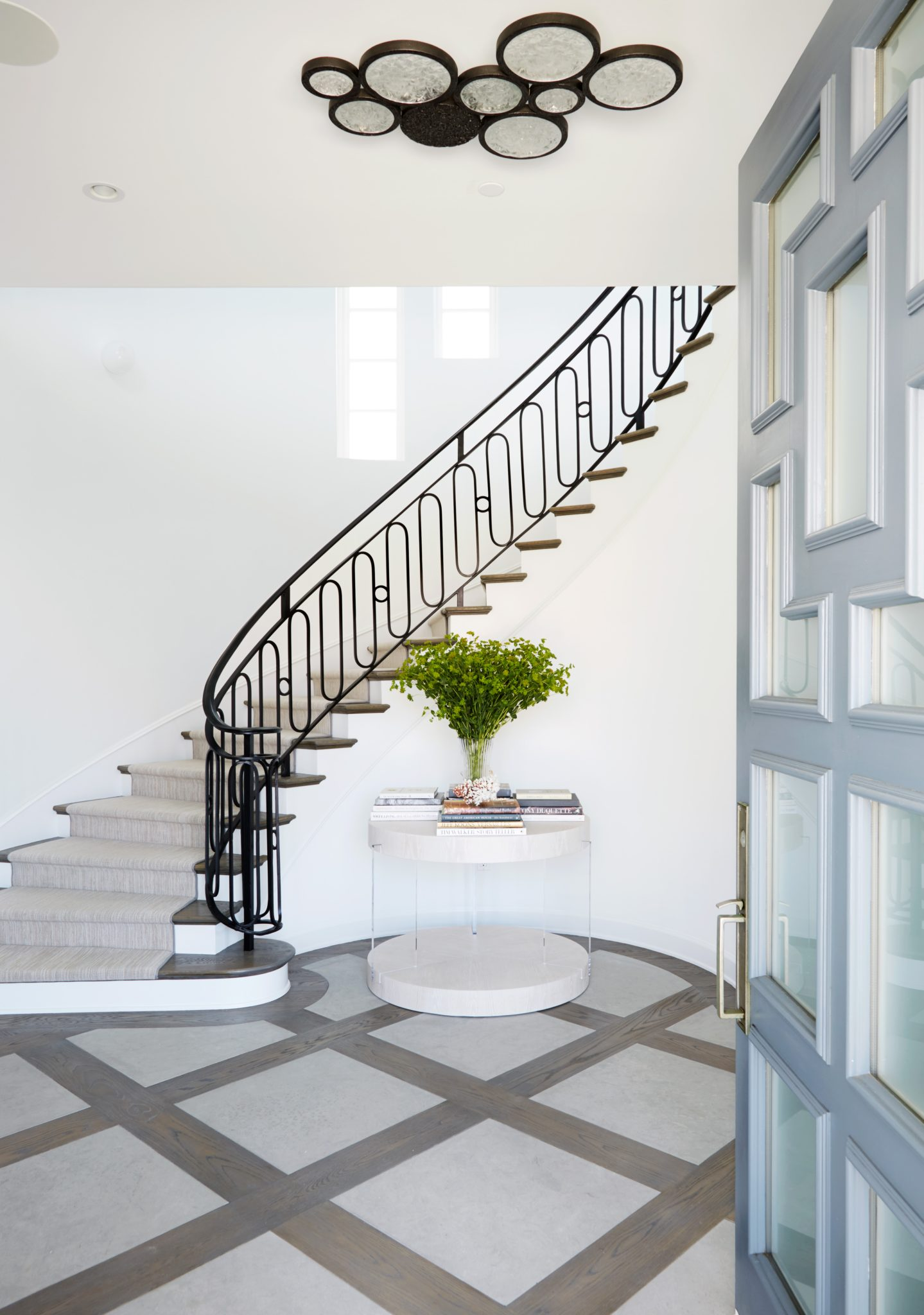 Manhattan Beach Project - Foyer with Custom Front Door by Erin King Interiors