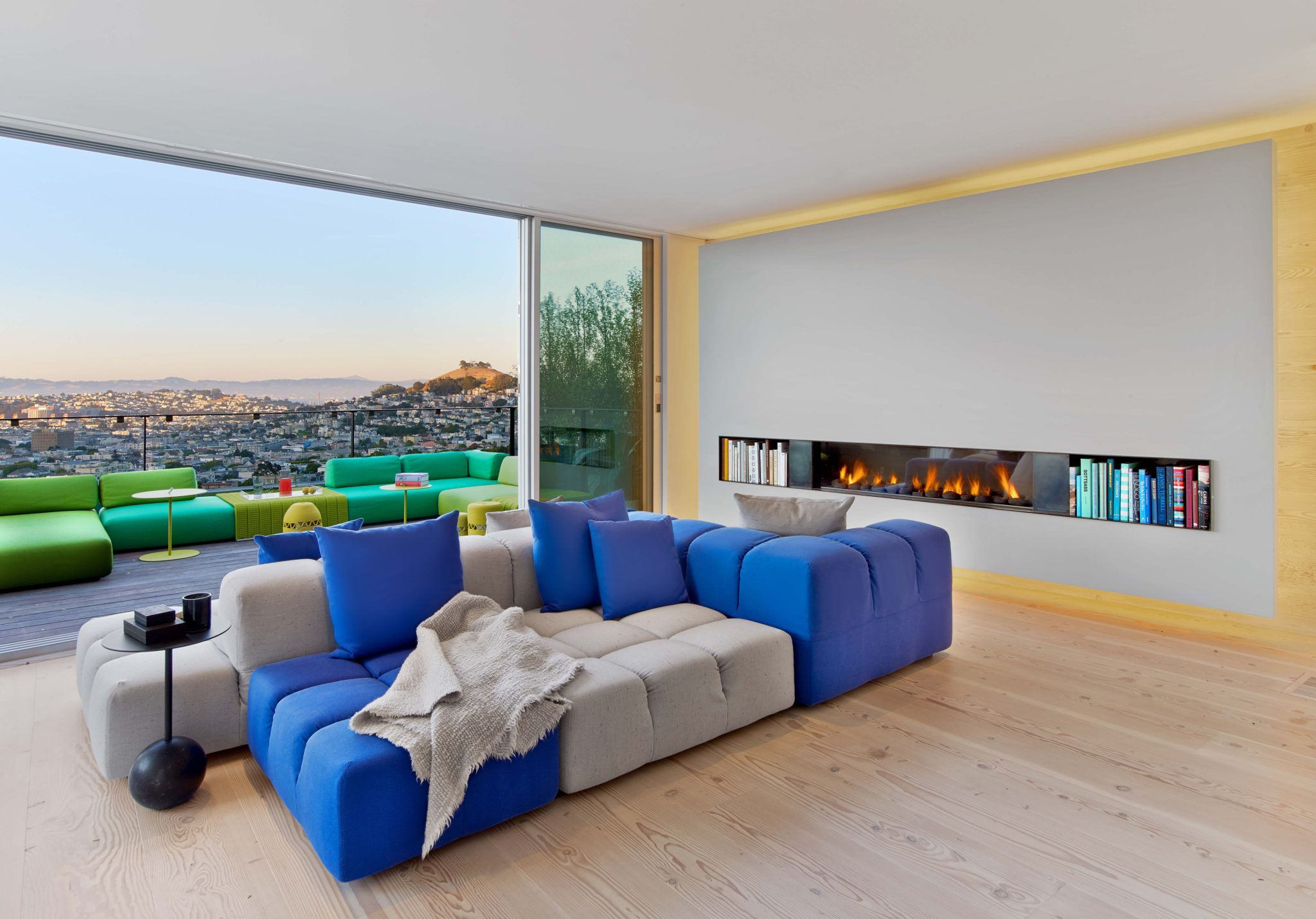 Glen Park Residence, open living room with city views and floating fire place by Cass Calder Smith | CCS Architecture