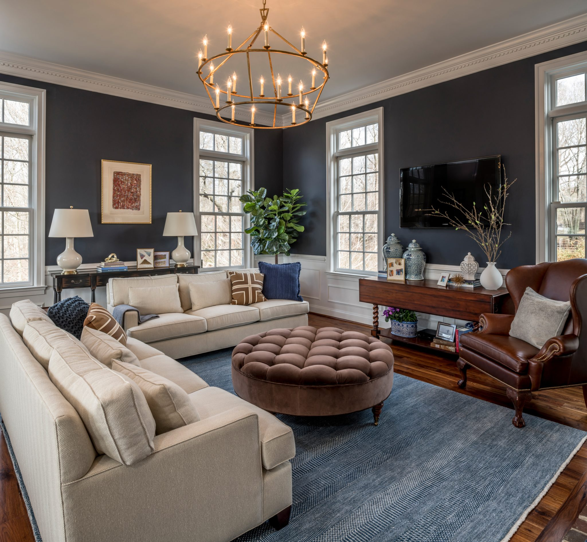 Navy Blue Family Room by Walsh Hill Design
