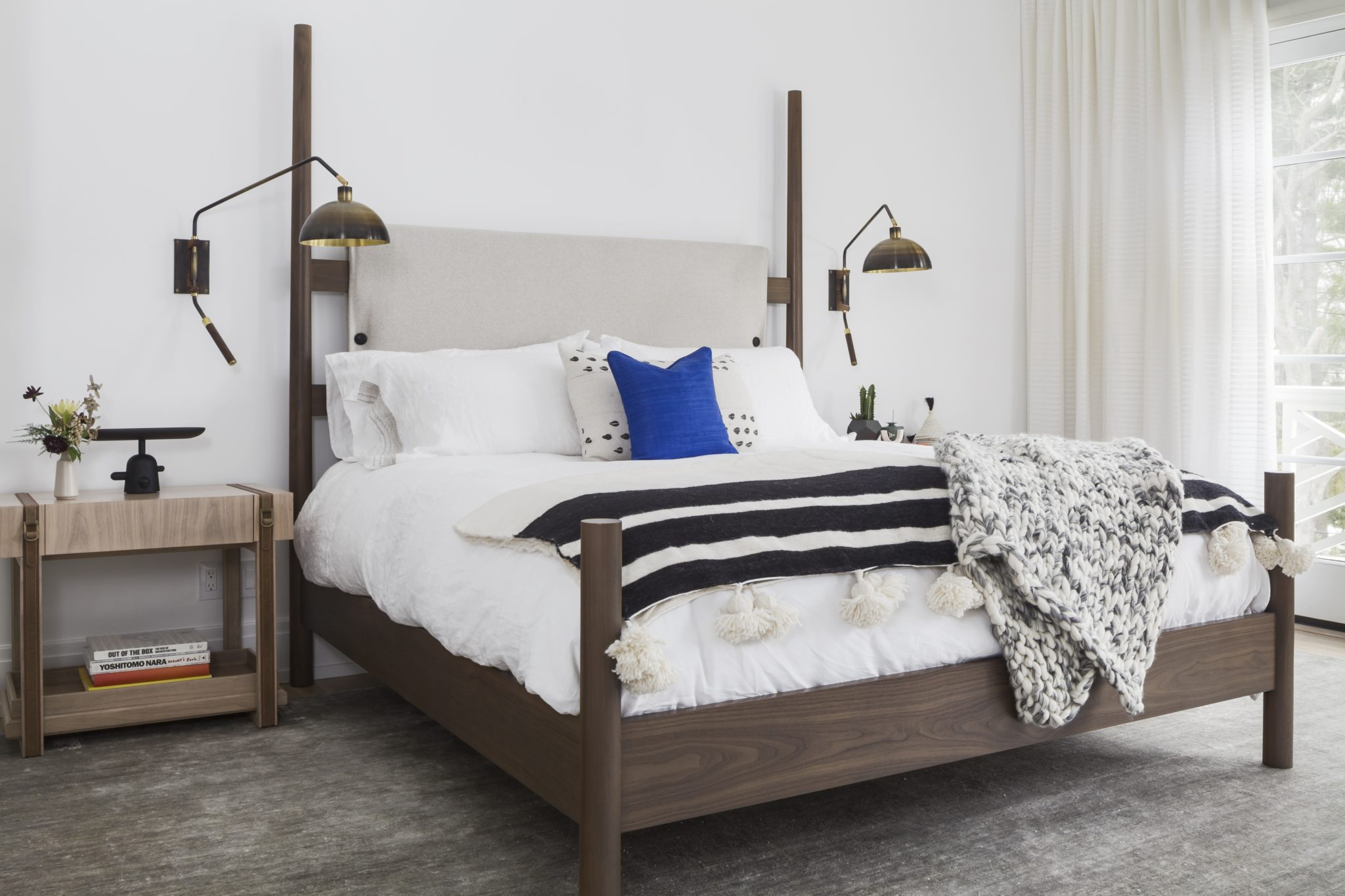 A Scarsdale home - master bedroom with custom bed and bedside tables by Current Interiors