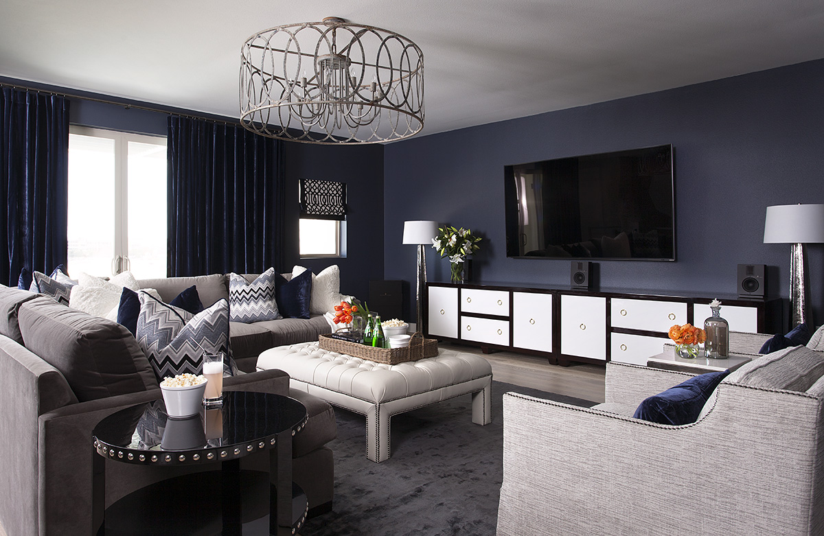 Moody Blue Media Room, Gray and Blue by Heather Scott Home & Design