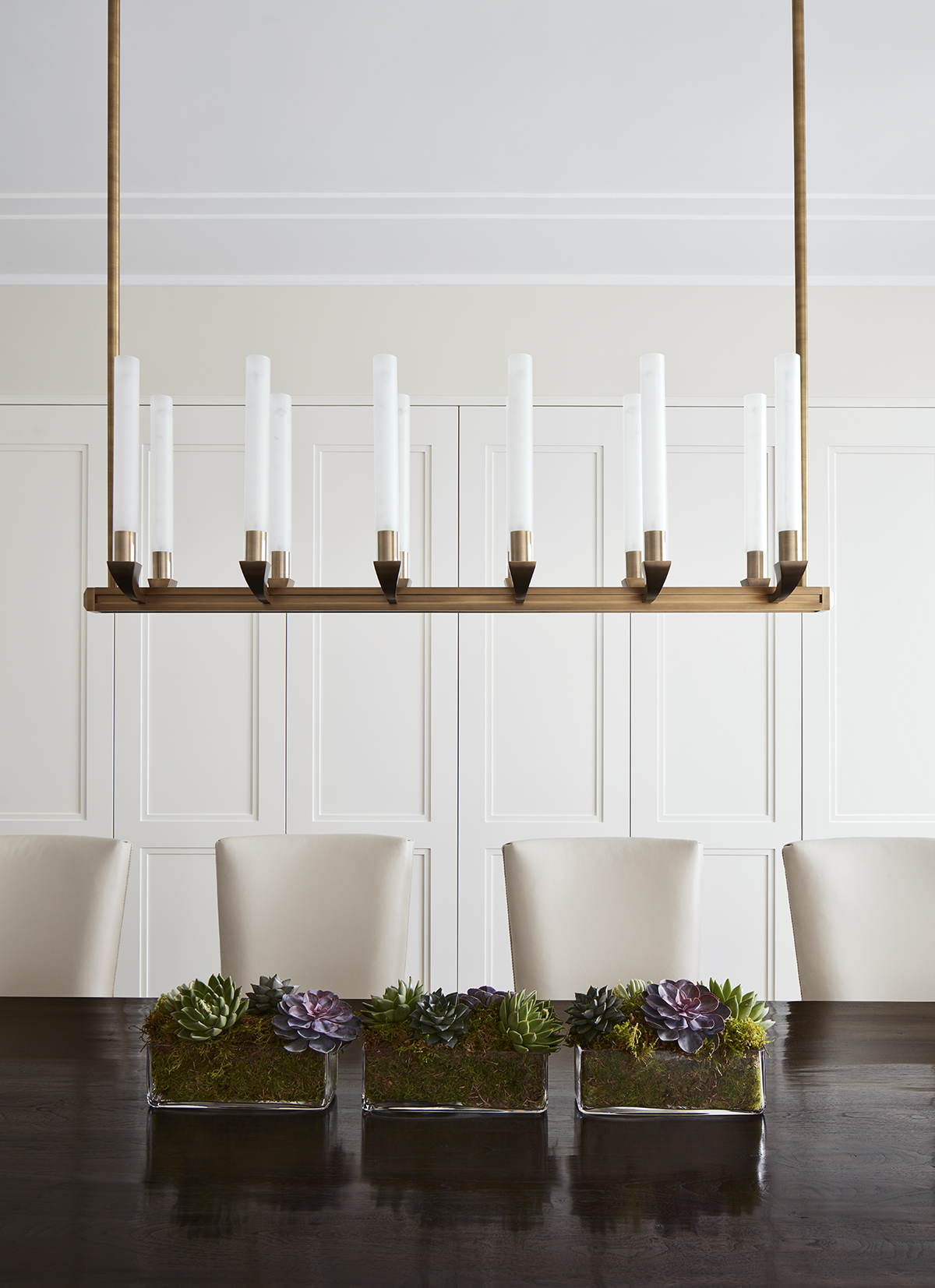 Dining Room Chandelier Detail by Inhabit Interiors