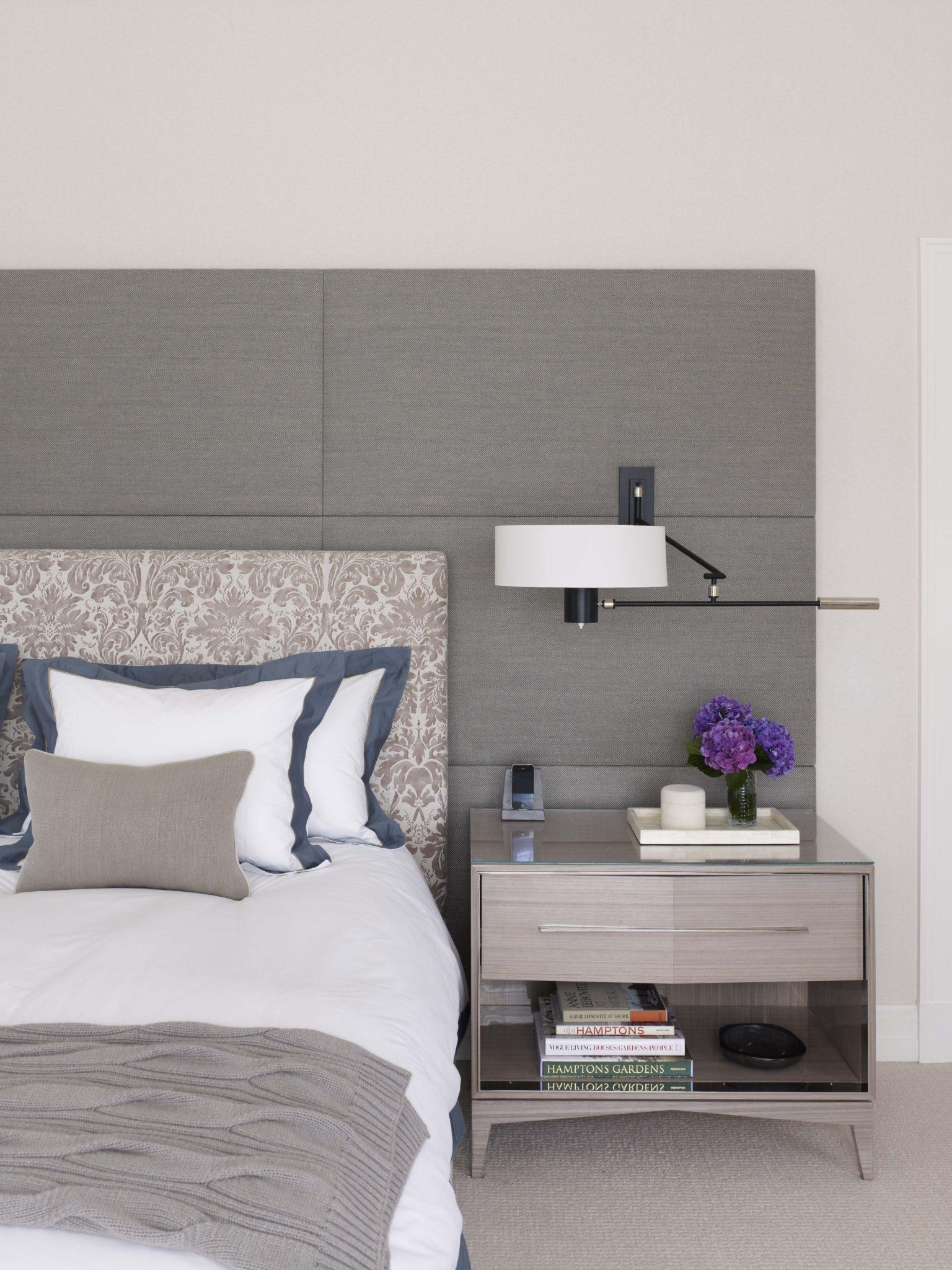Bridgehampton Residence, Master Bedroom bed with upholstered headboard wall by Stephens Design Group