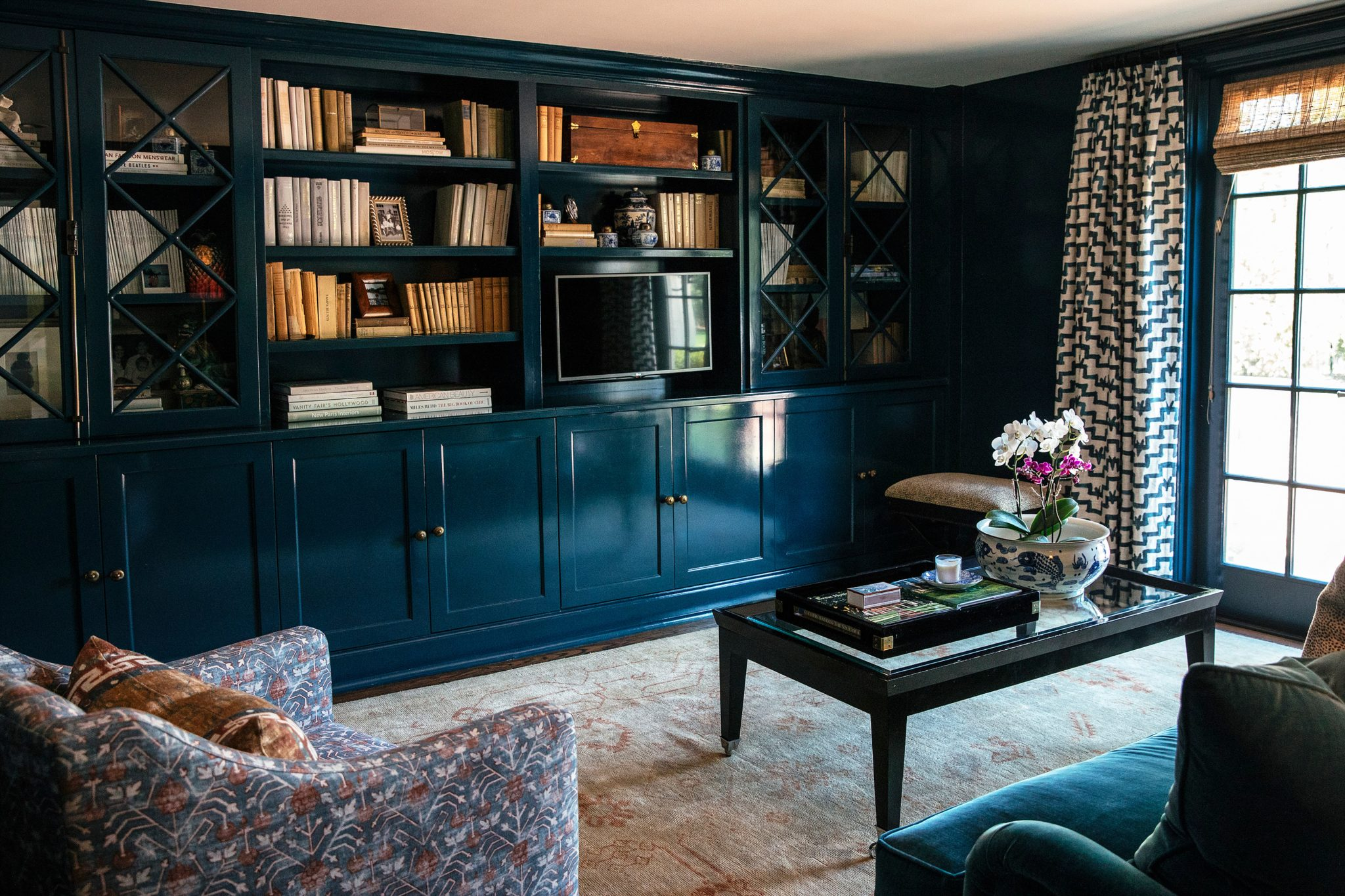 Dark Blue Library Den by M and M Interior Design