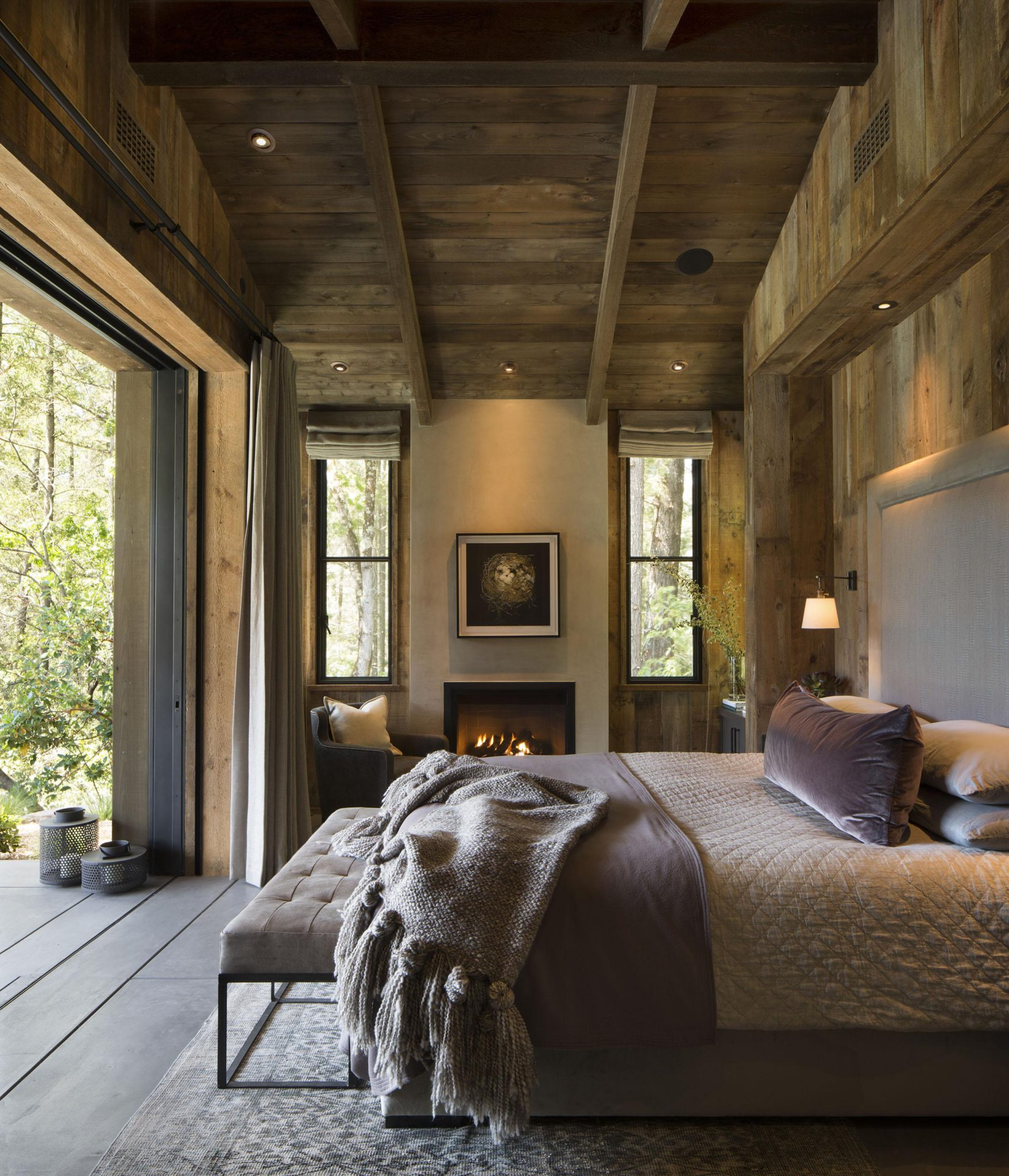 Master Bedroom Napa Cabin by Wade Design Architects