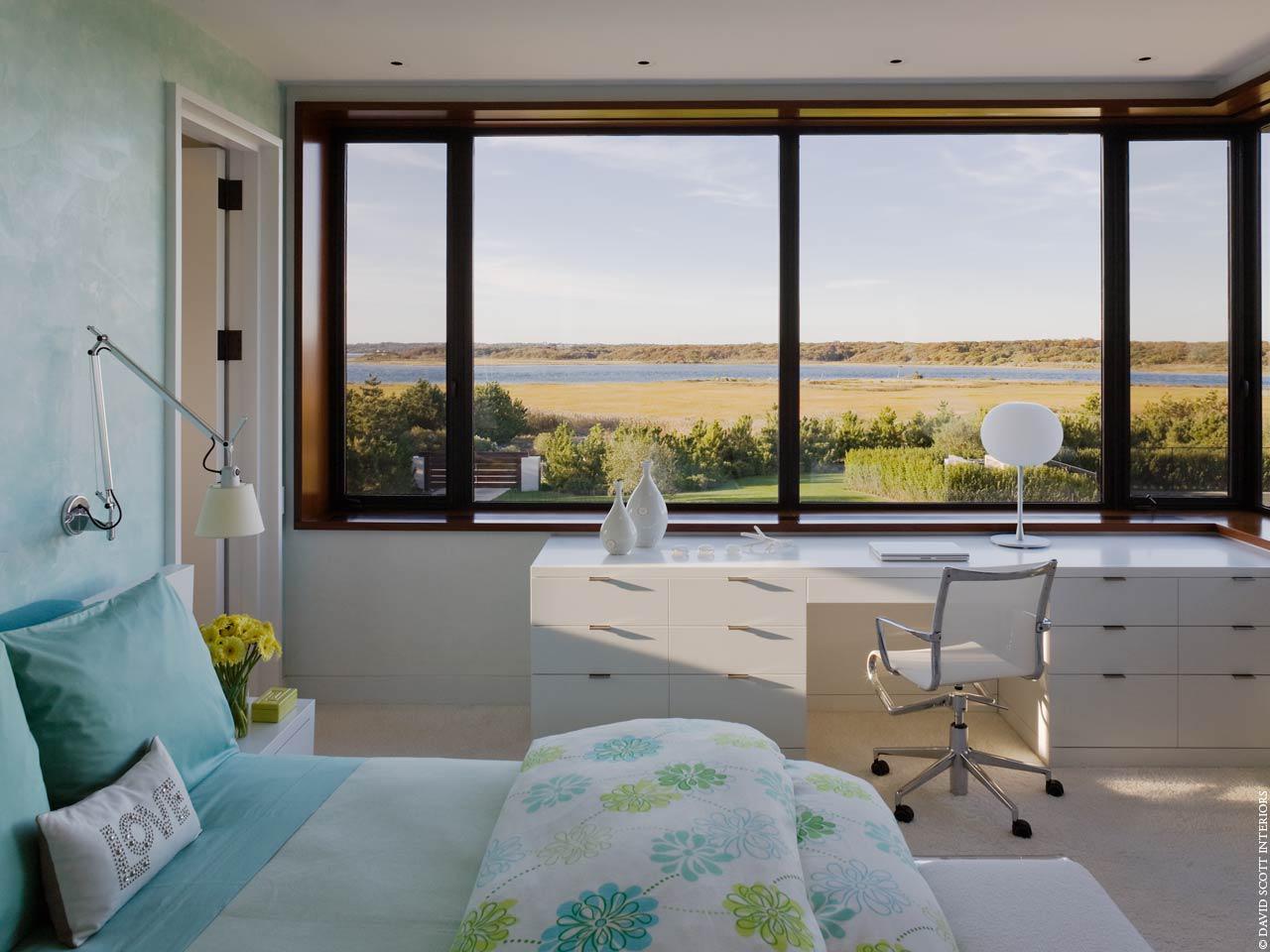 Southampton oceanfront bedroom by David Scott Interiors, LTD.