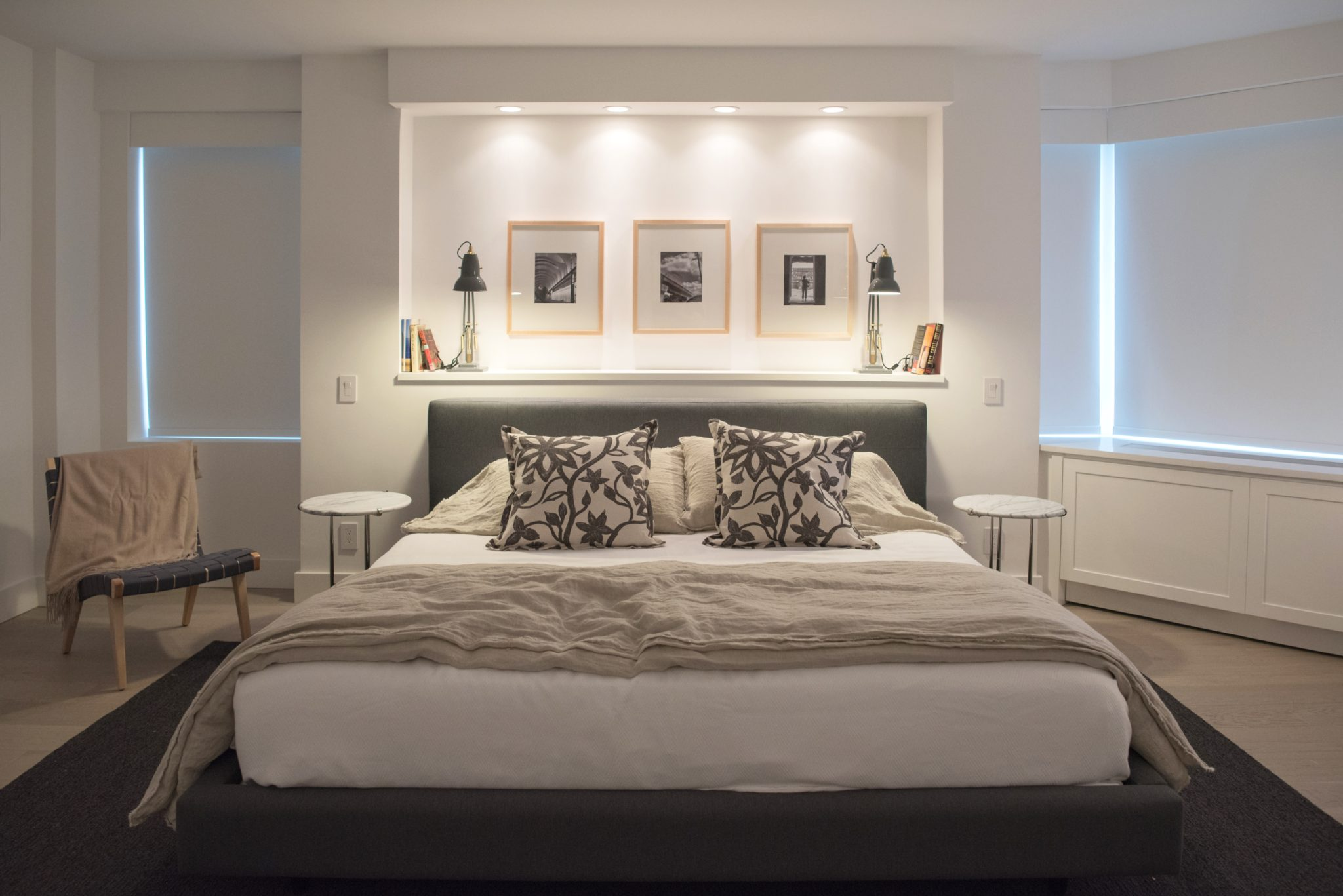 Contemporary open living - master bedroom by Paula McDonald Design Build & Interiors
