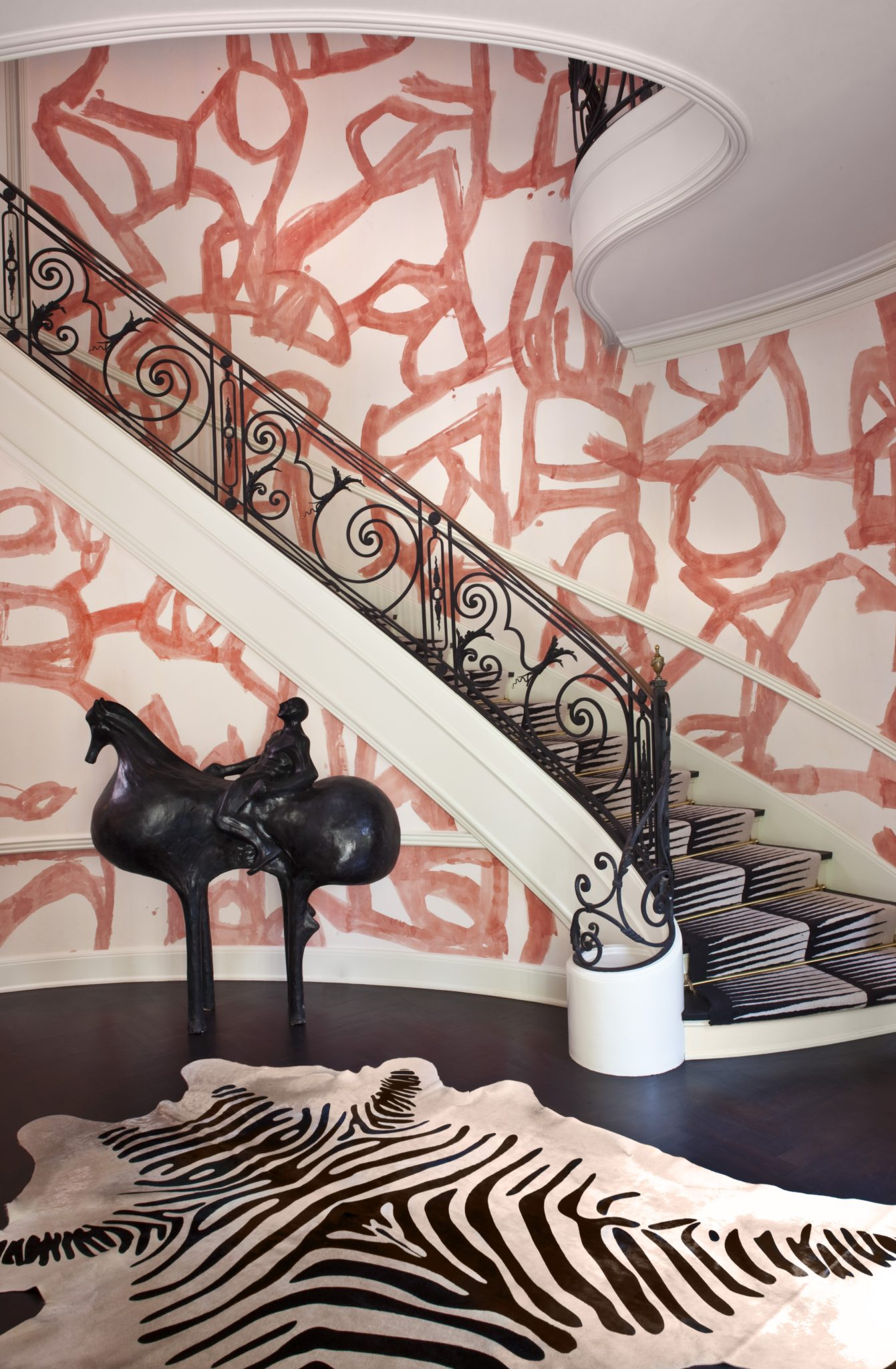 Master Staircase at Hillcrest Residence in Beverly Hills, CA. by Kelly Wearstler