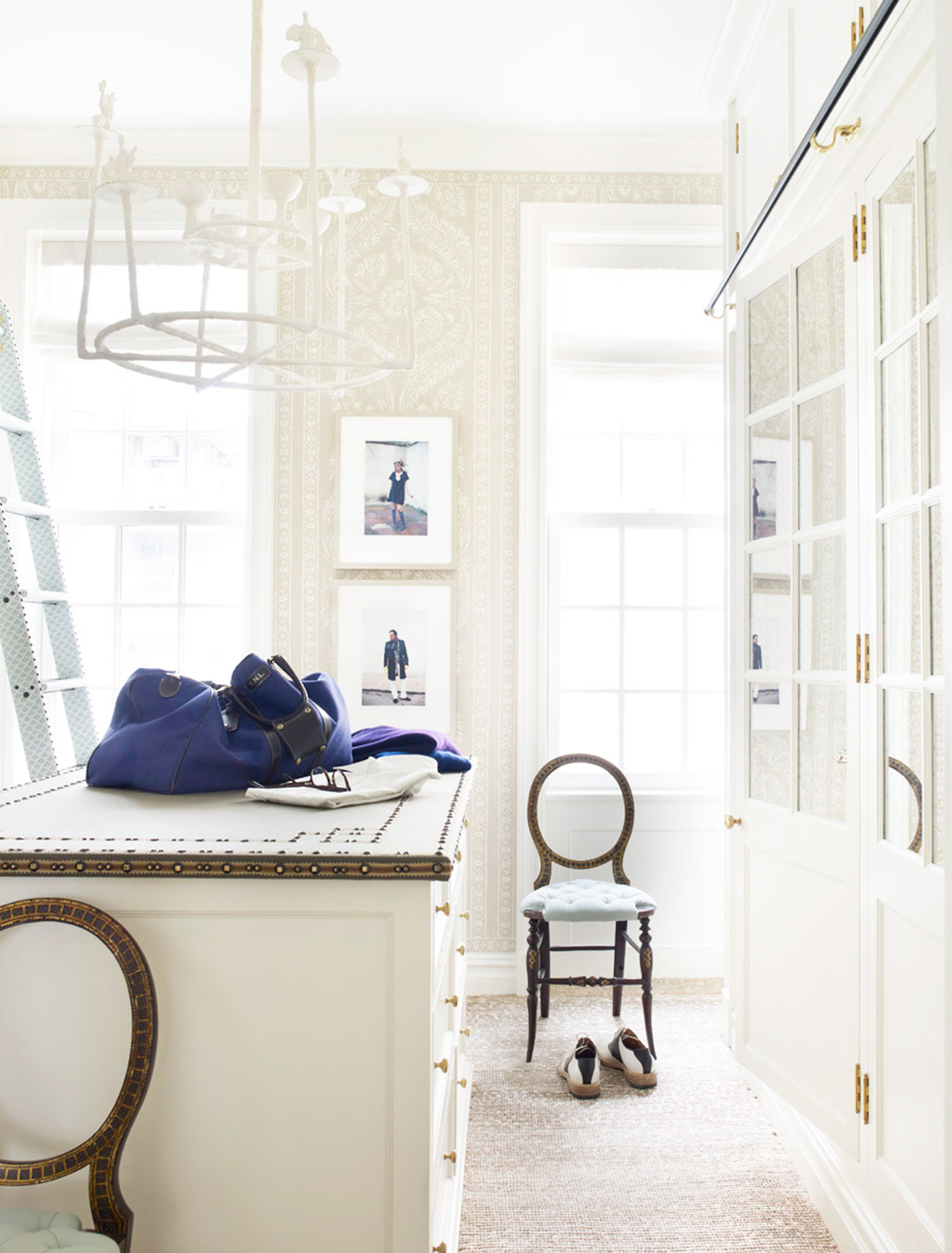 Every detail counts in a beautifully fitted and finished dressing room. by Jeffrey Bilhuber