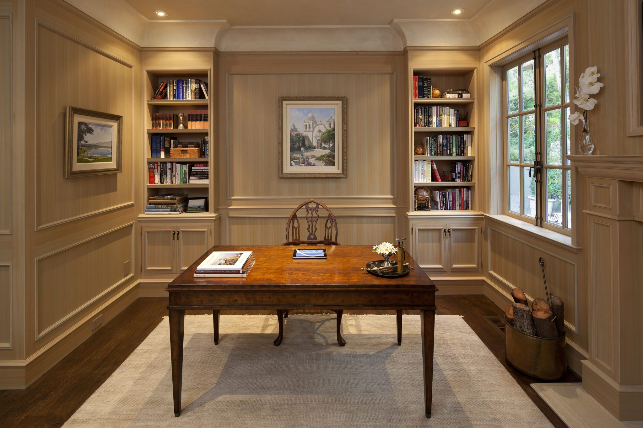 Pebble Beach Paneled Library and Office, Wood Species is Monterey Cypress, Hand Finished by Juli Baier Interior Design